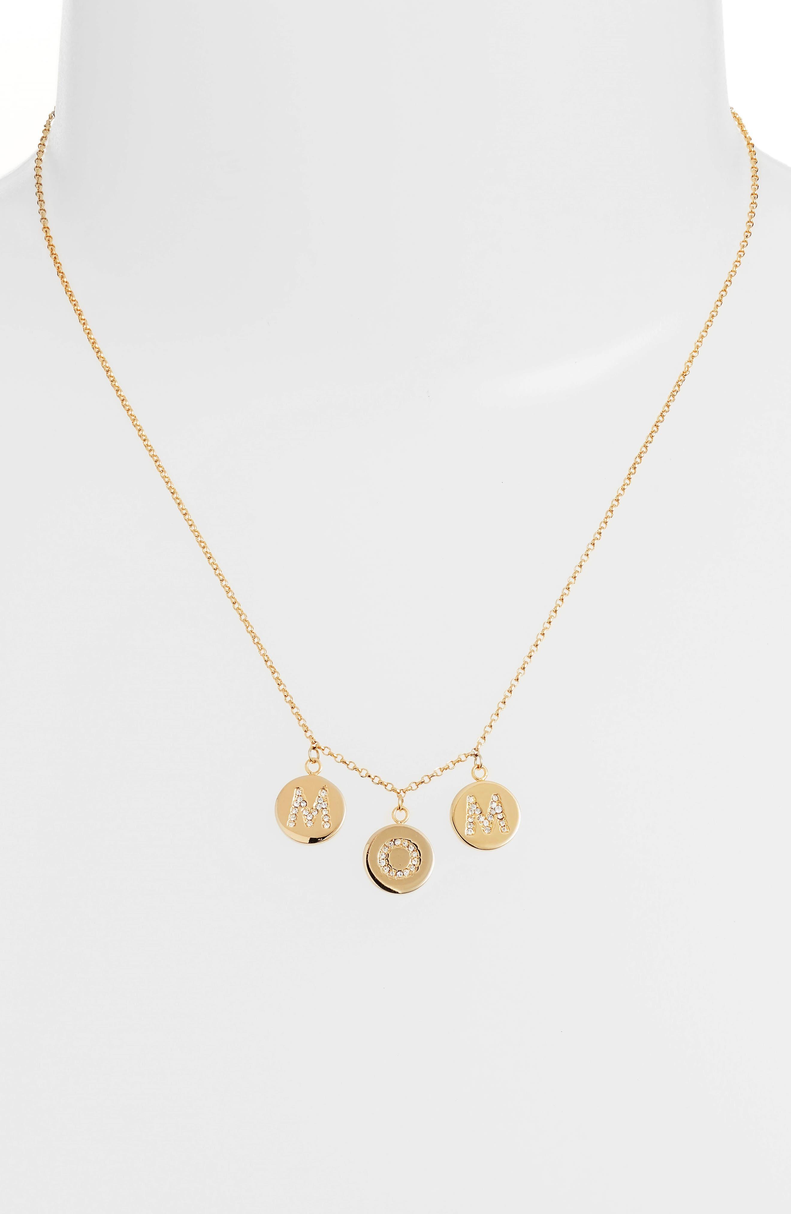 mom knows best pavé charm necklace,                             Alternate thumbnail 2, color,                             Gold