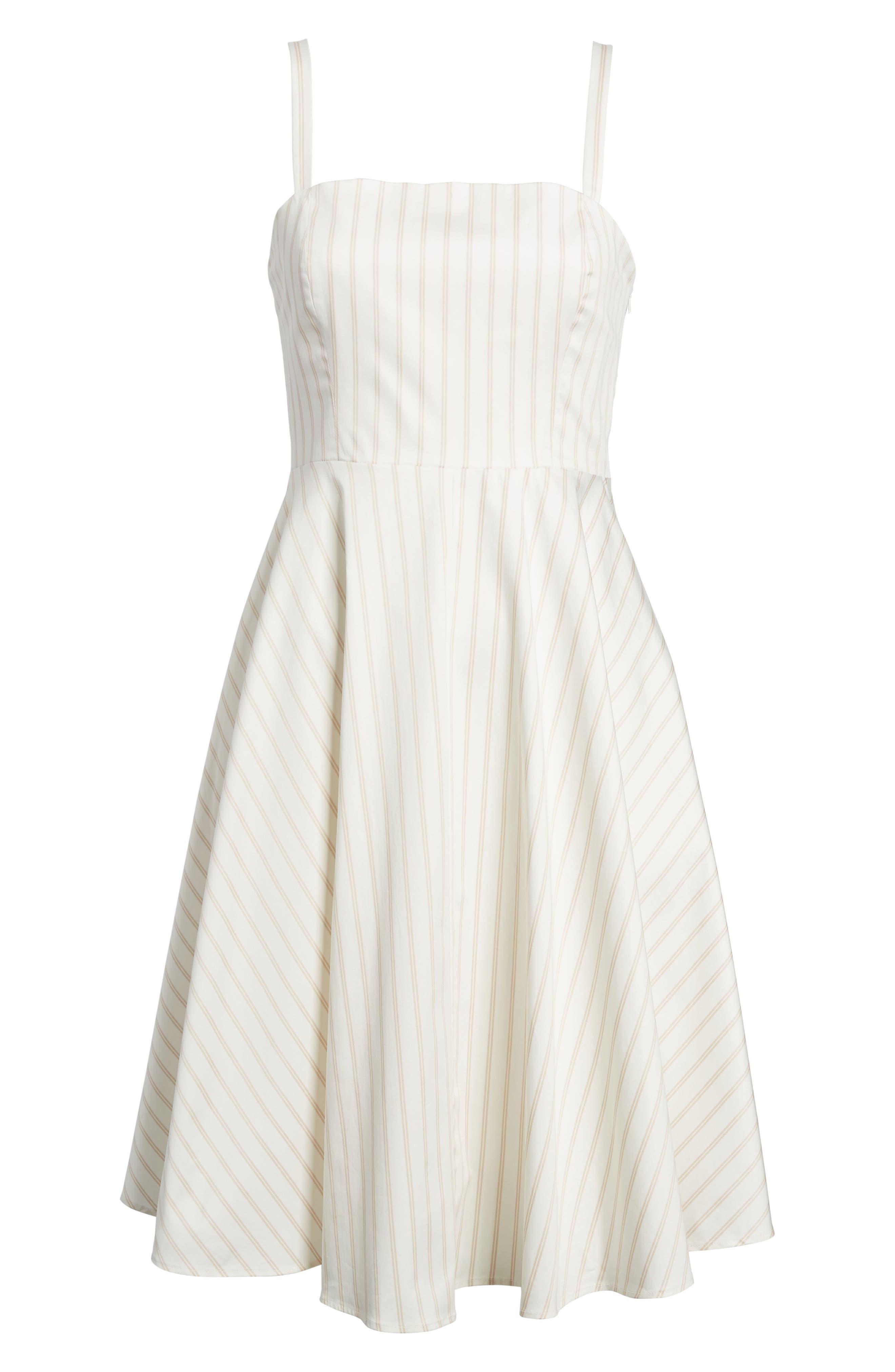 Fit & Flare Dress,                             Alternate thumbnail 6, color,                             Ivory Ashley Stripe