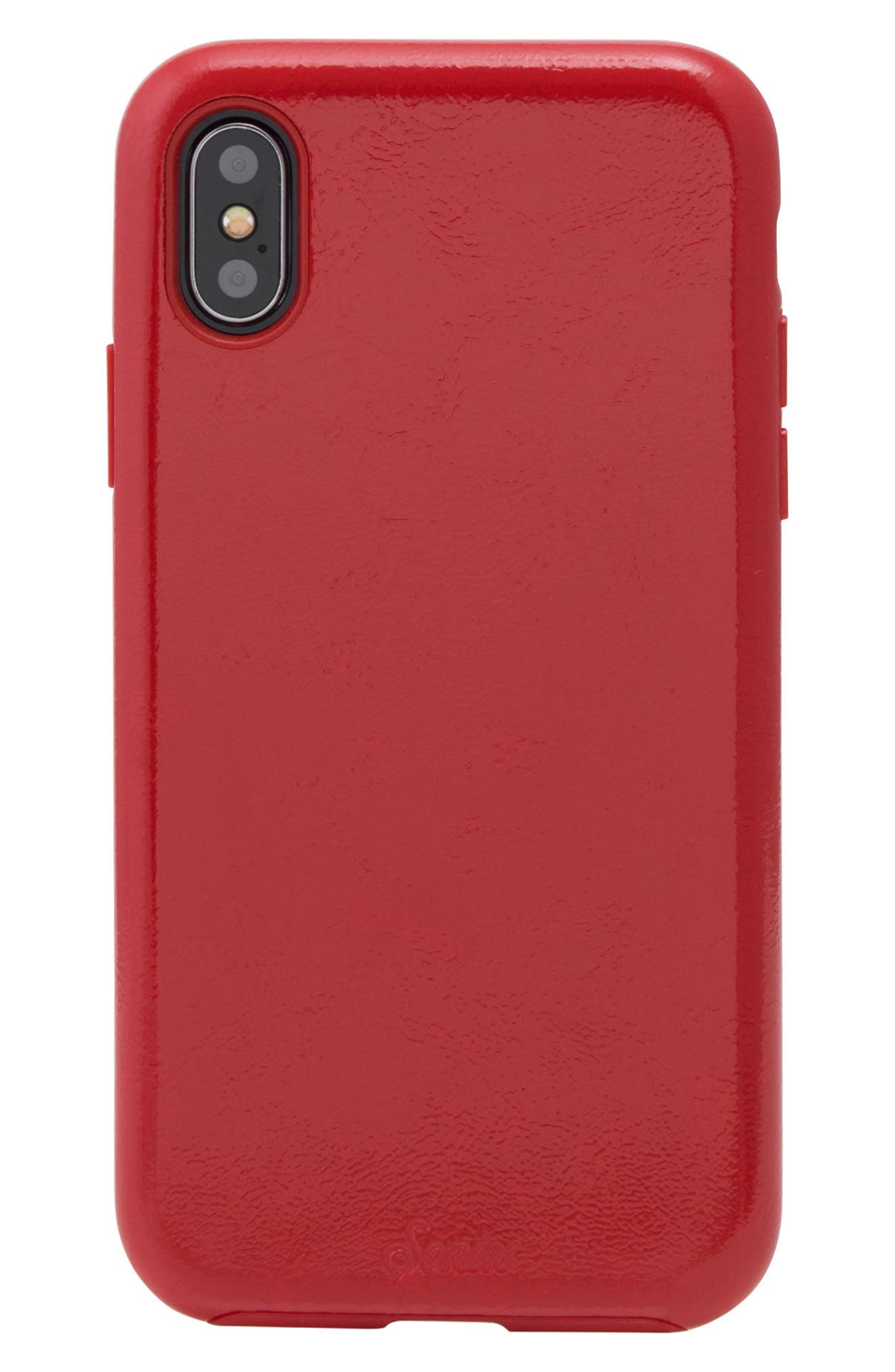 Cherry Faux Leather iPhone X Case,                             Main thumbnail 1, color,                             Cherry Red