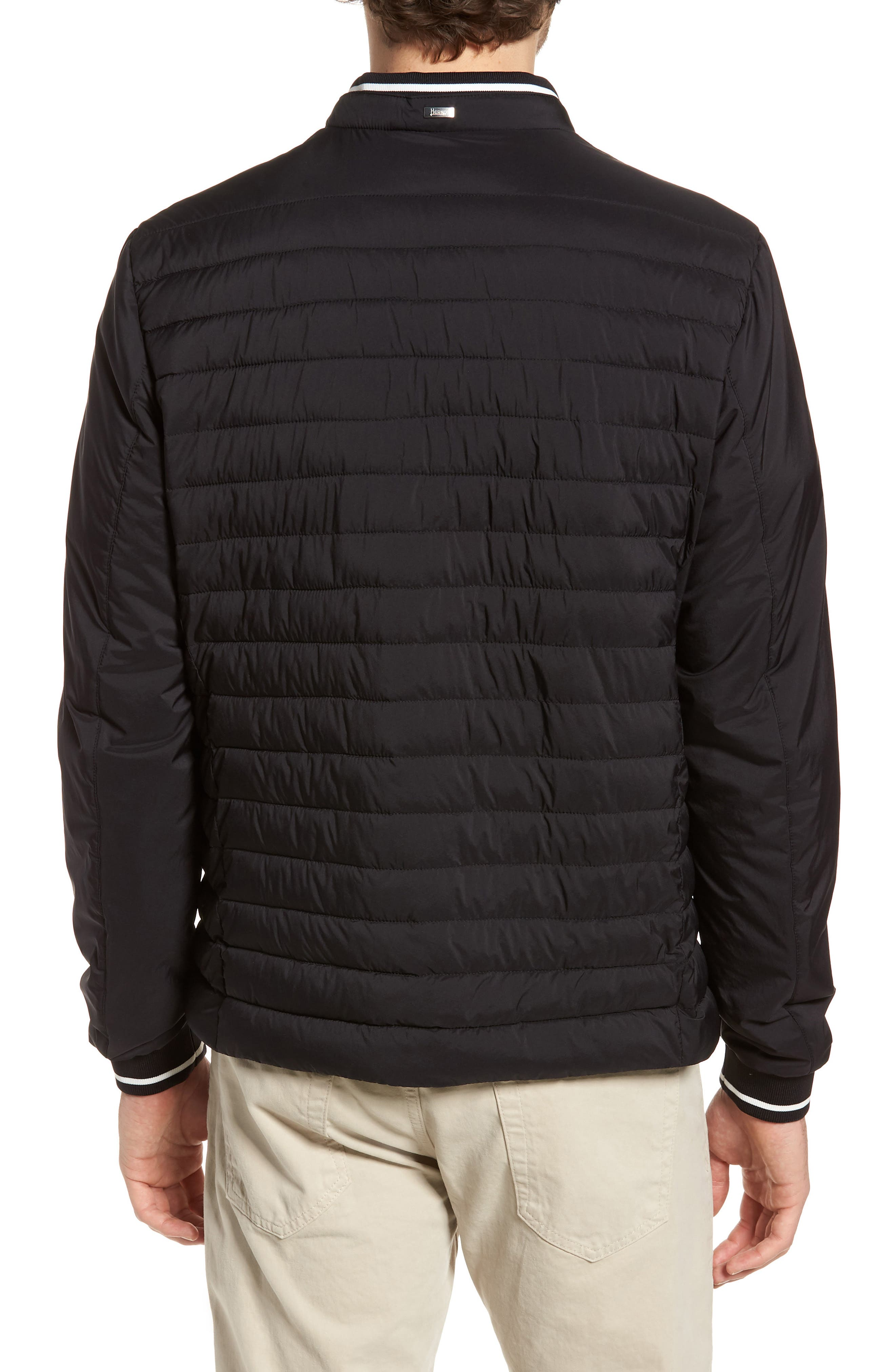 Tipped Quilted Jacket,                             Alternate thumbnail 2, color,                             Black
