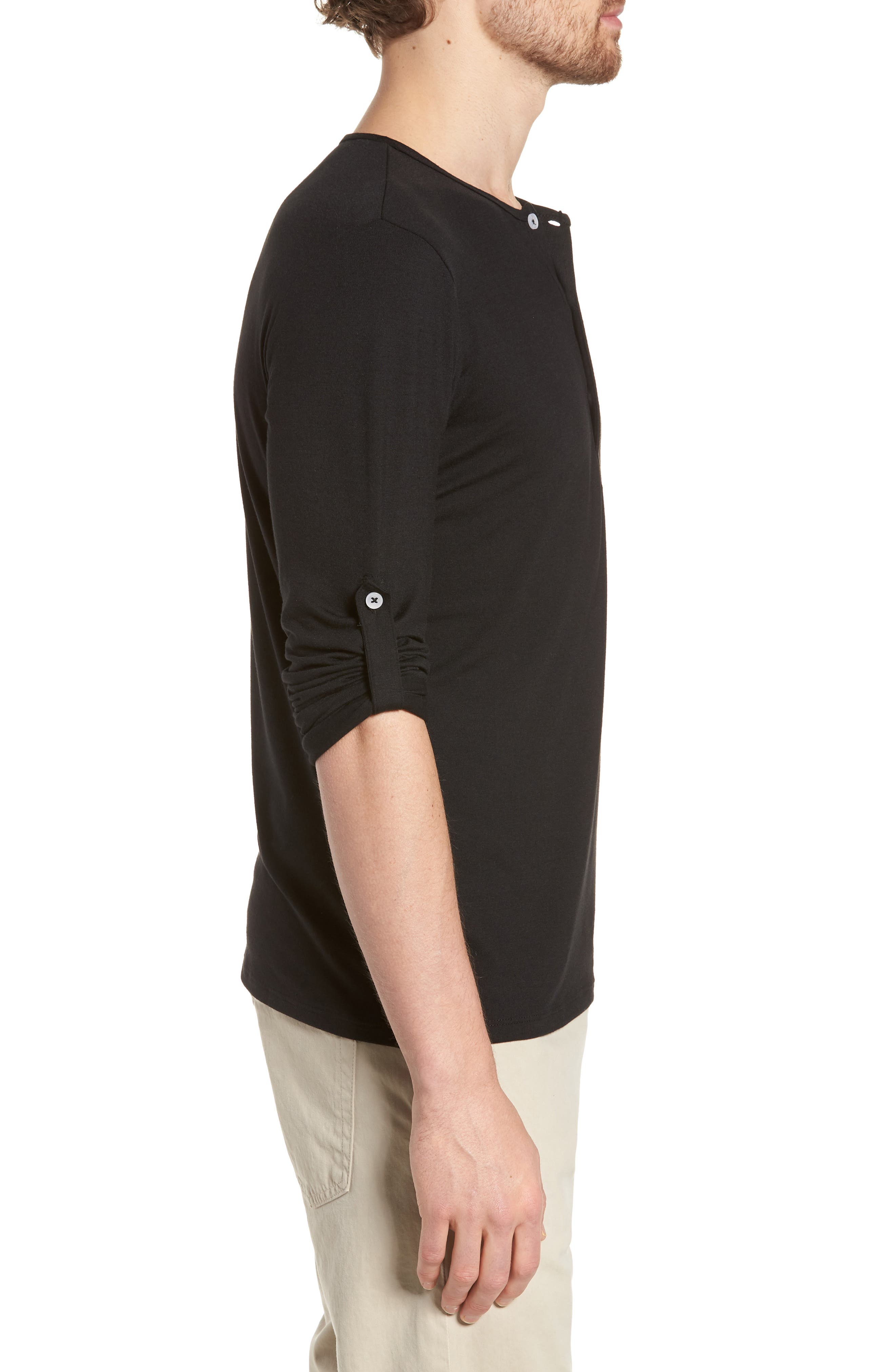 Mizzen Henley,                             Alternate thumbnail 3, color,                             Black / Black