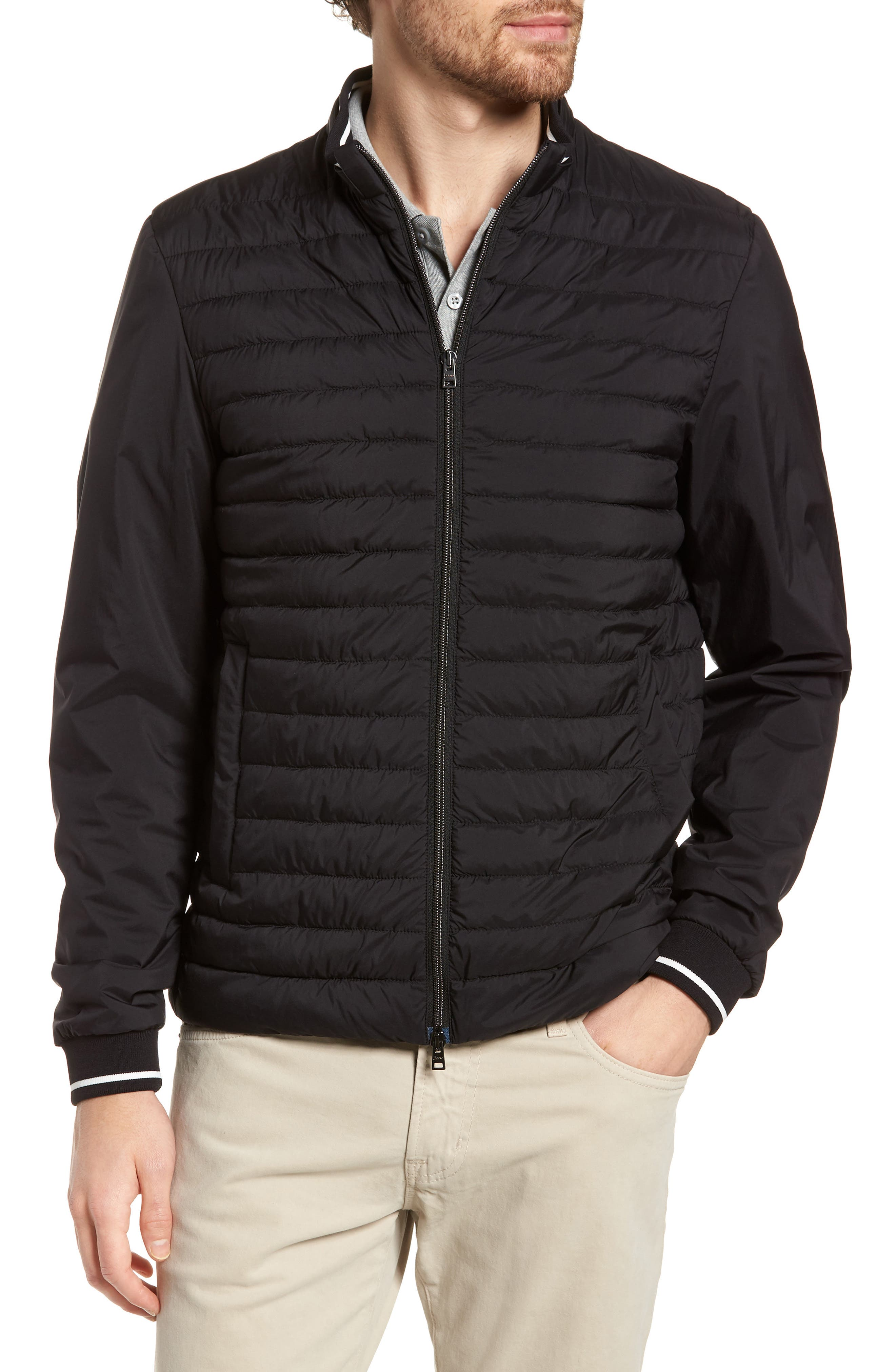 Tipped Quilted Jacket,                             Alternate thumbnail 4, color,                             Black
