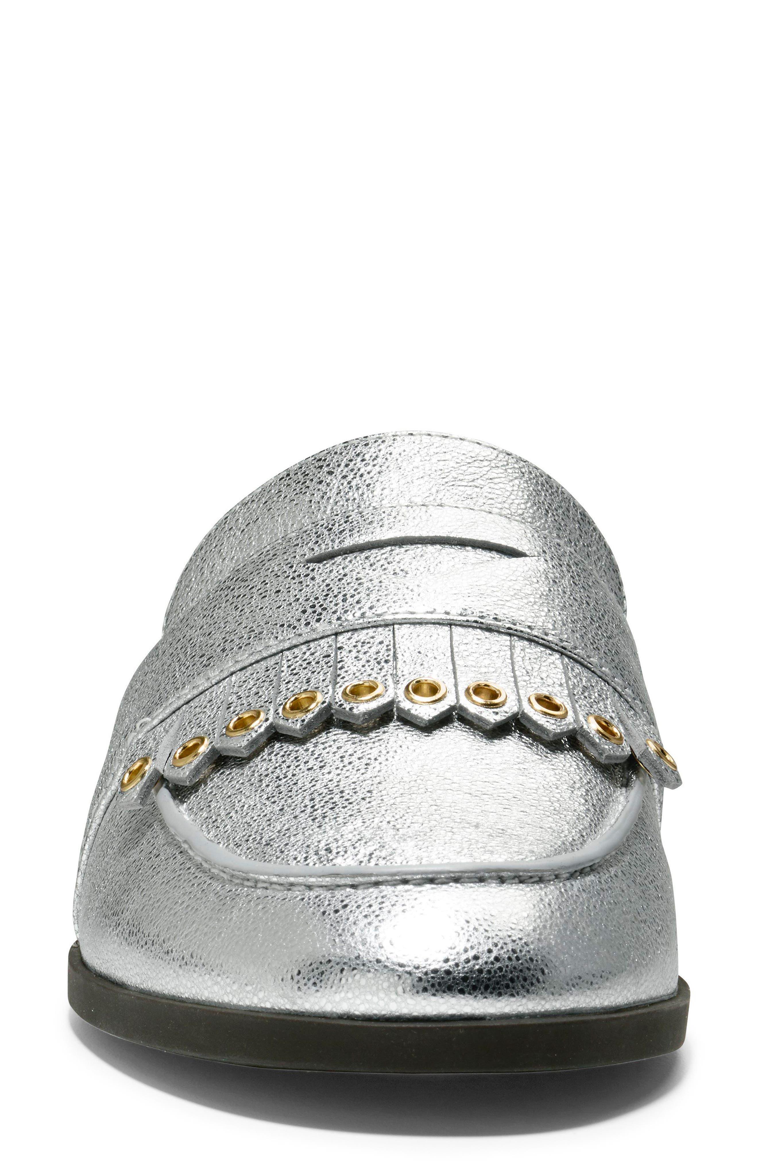 Pinch Kiltie Mule,                             Alternate thumbnail 4, color,                             Silver Leather