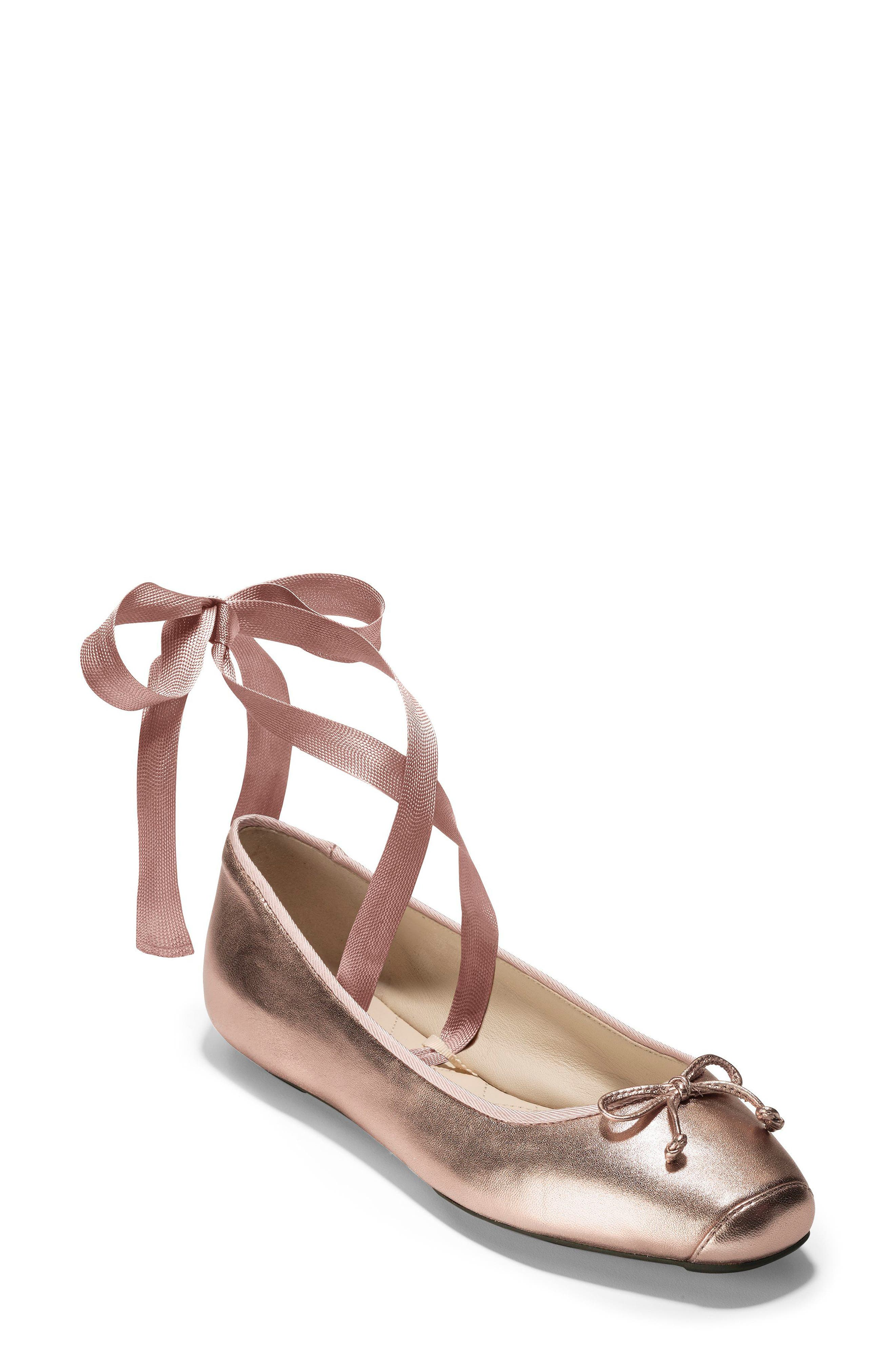 Downtown Ankle Wrap Ballet Flat,                             Main thumbnail 1, color,                             Rose Gold Leather