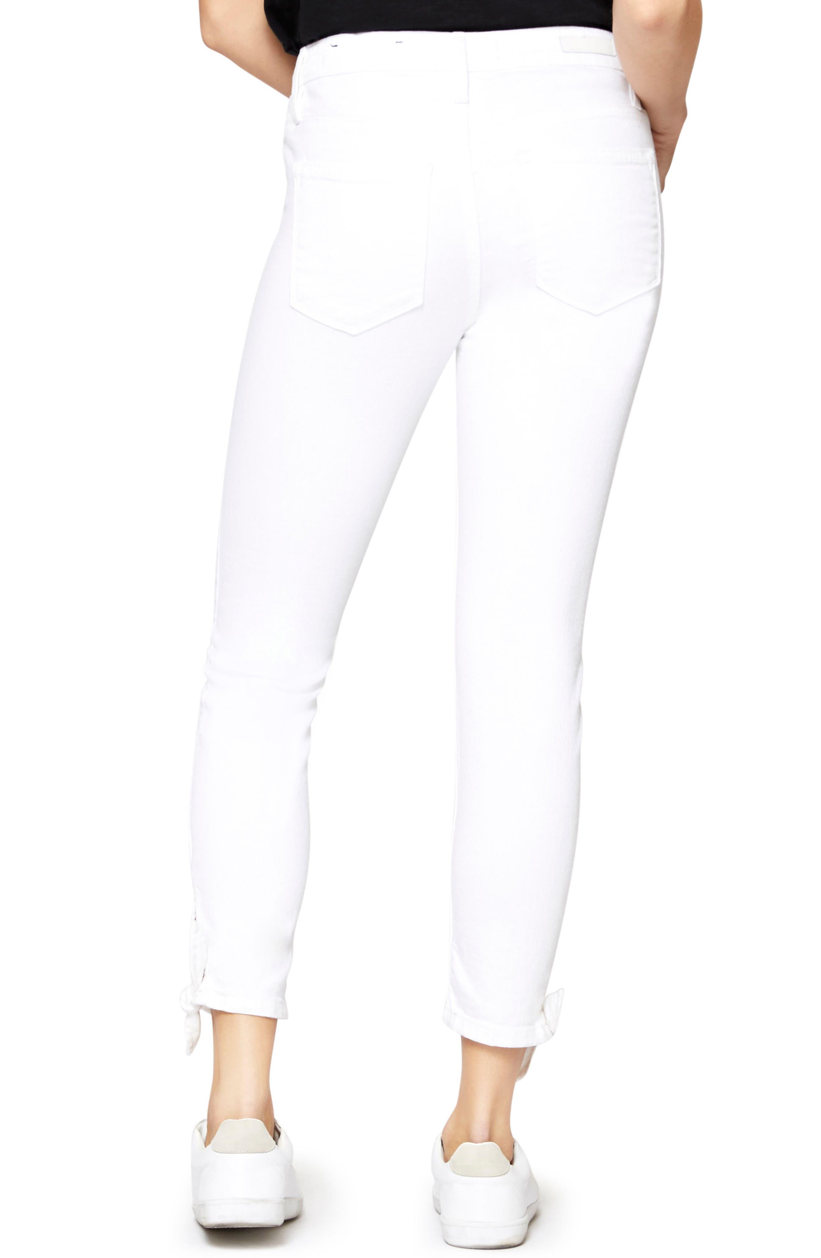 Robbie Ankle Tie Jeans,                             Alternate thumbnail 2, color,                             White