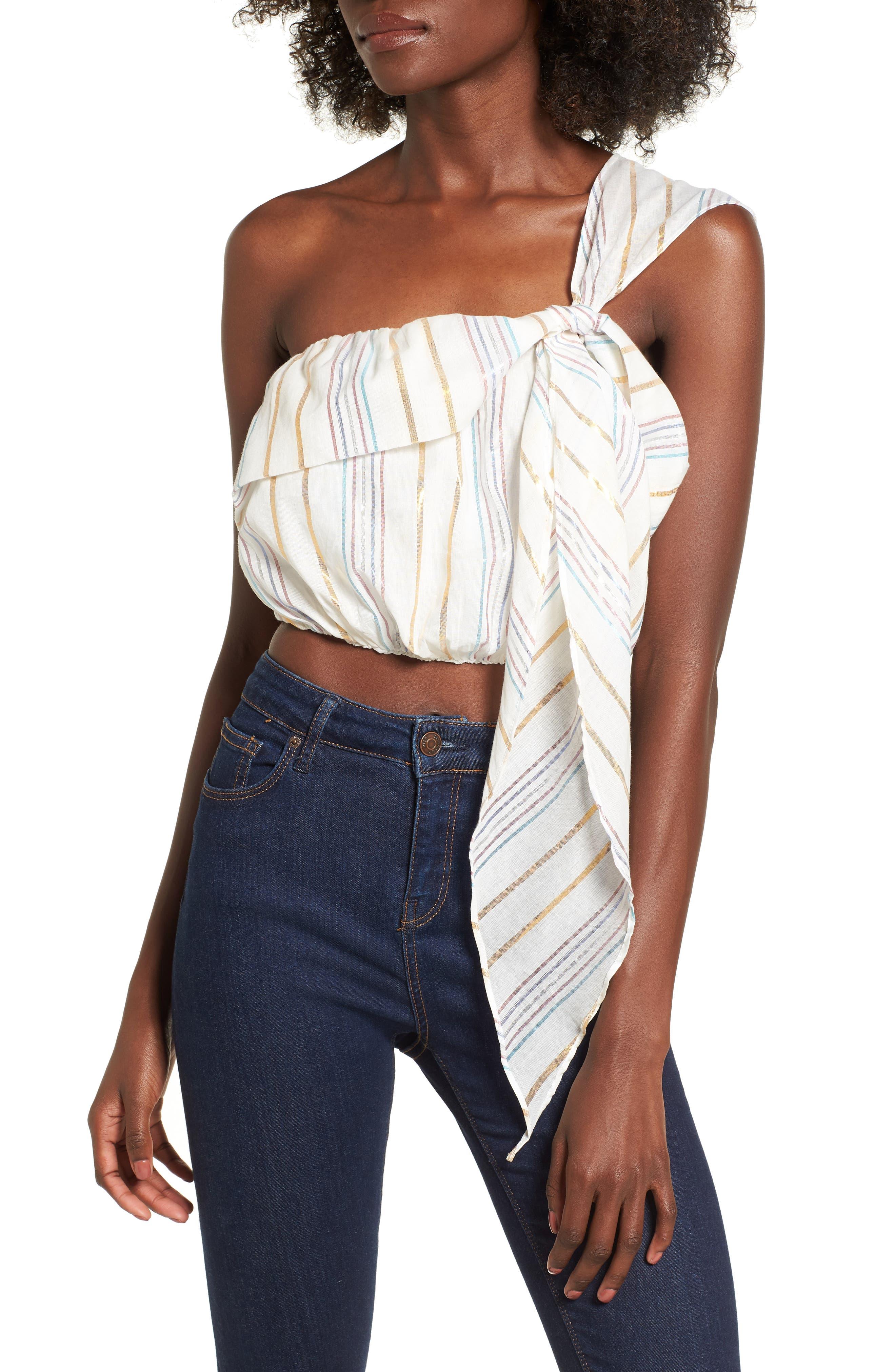 Vanessa One-Shoulder Crop Top,                         Main,                         color, Marshmallow