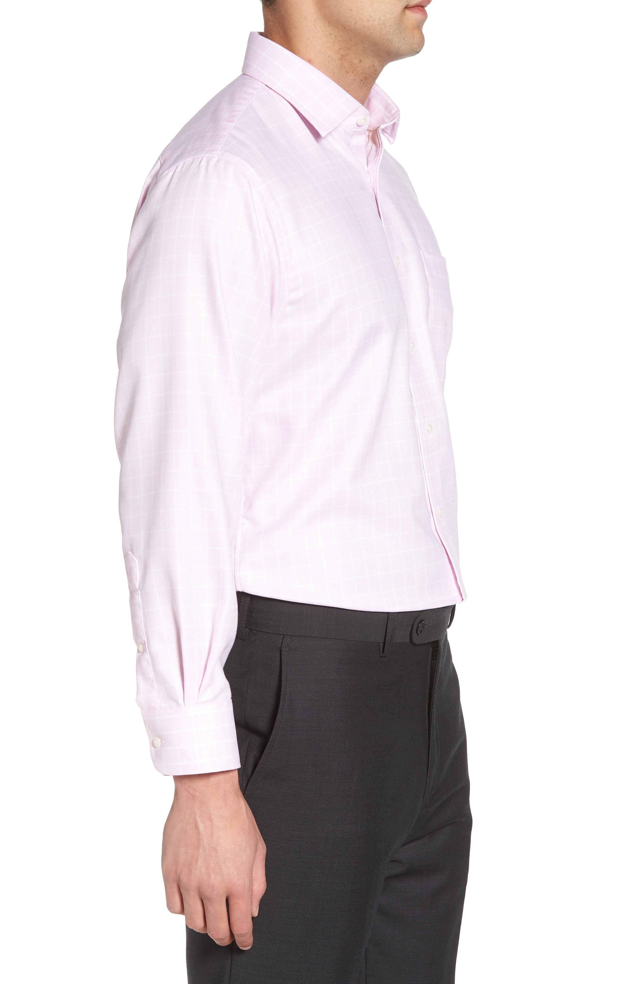 Traditional Fit Non-Iron Check Dress Shirt,                             Alternate thumbnail 4, color,                             Pink Lavender