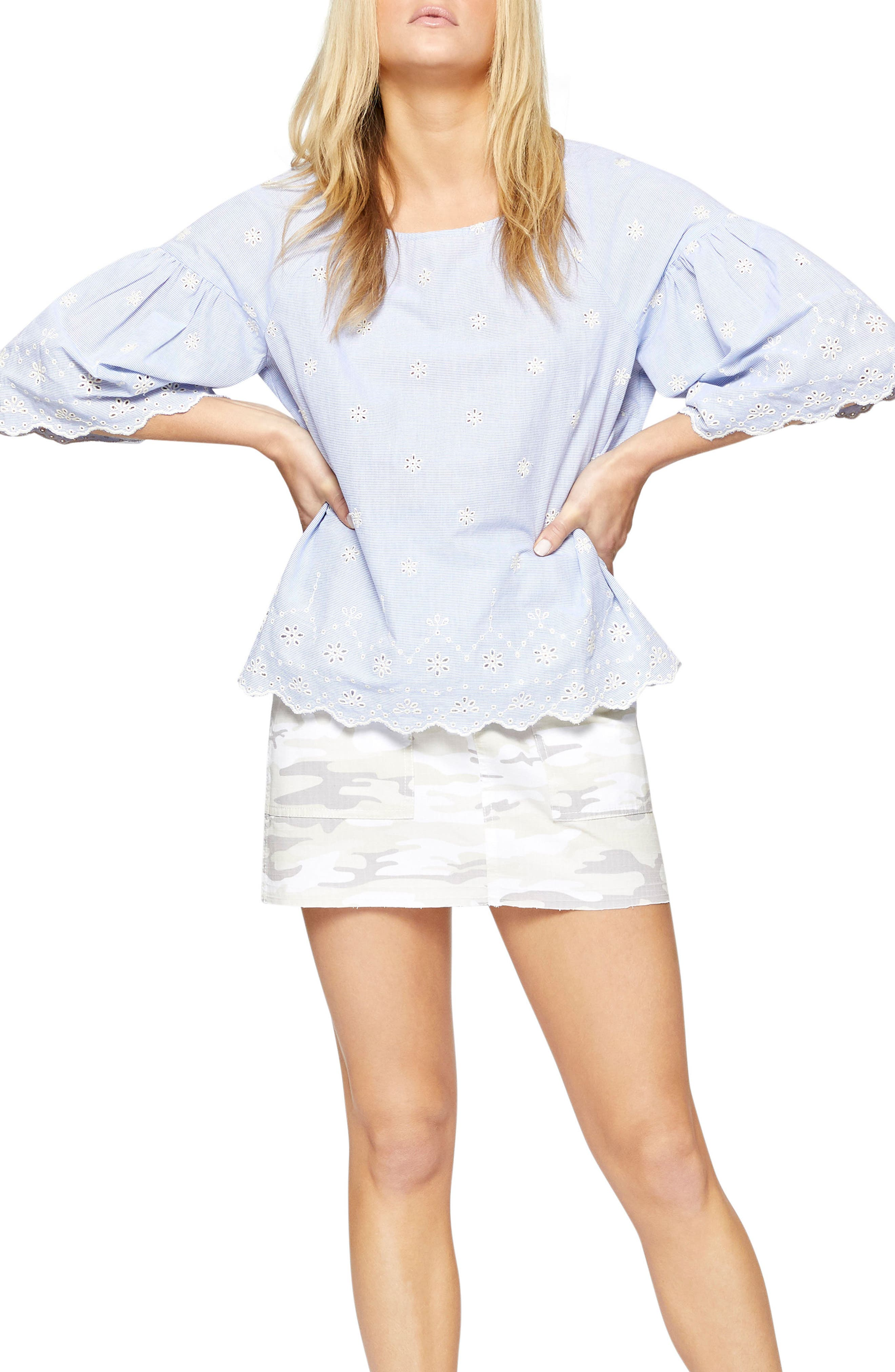 Main Image - Sanctuary Viola Embroidered Pinstripe Top