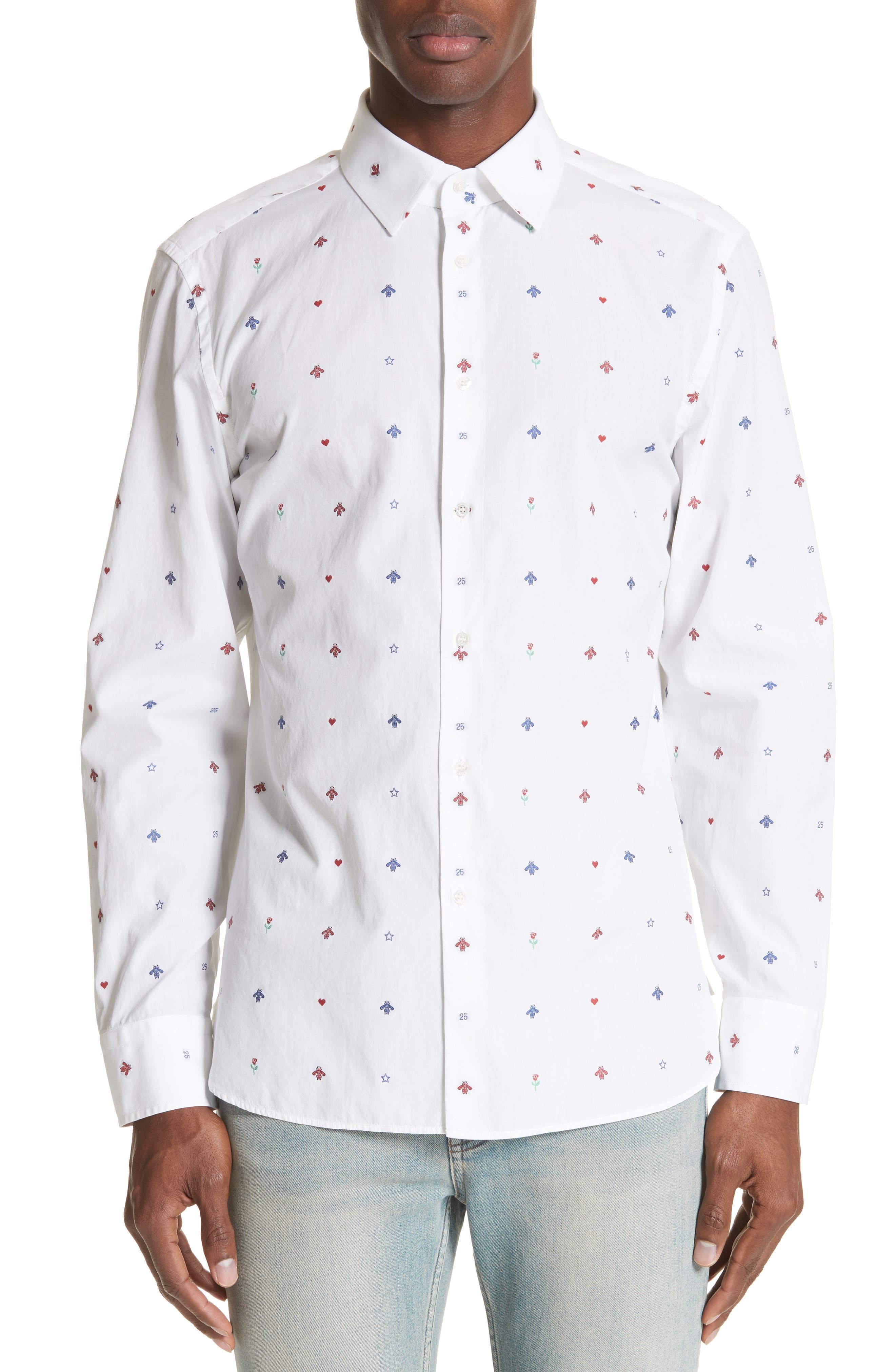 Allover Bee Print Woven Shirt,                         Main,                         color, 9000 White
