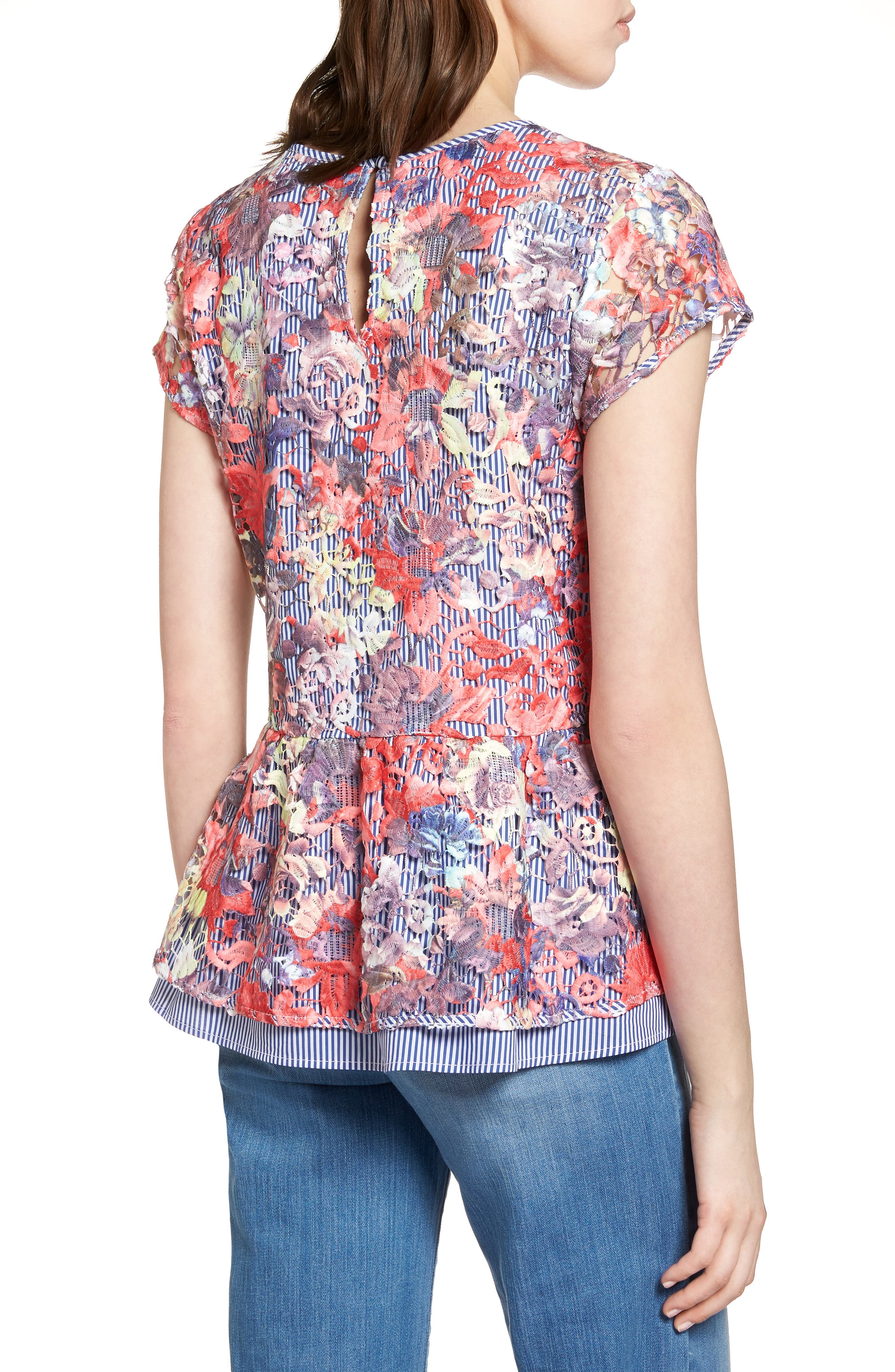 Lace Overlay Stripe Peplum Top,                             Alternate thumbnail 2, color,                             Coral Multi Lace