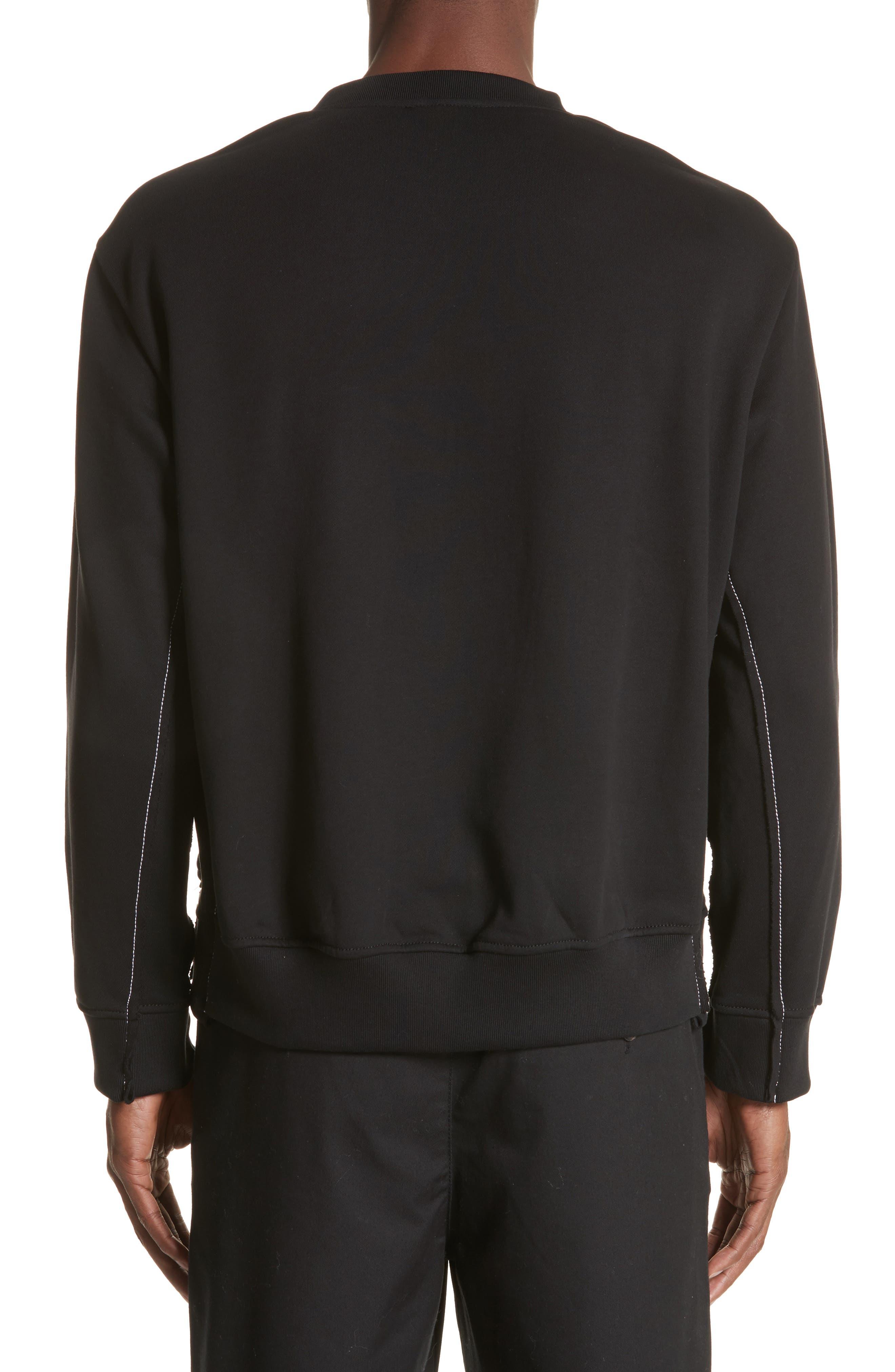 Reconstructed Crewneck Sweatshirt,                             Alternate thumbnail 2, color,                             Black