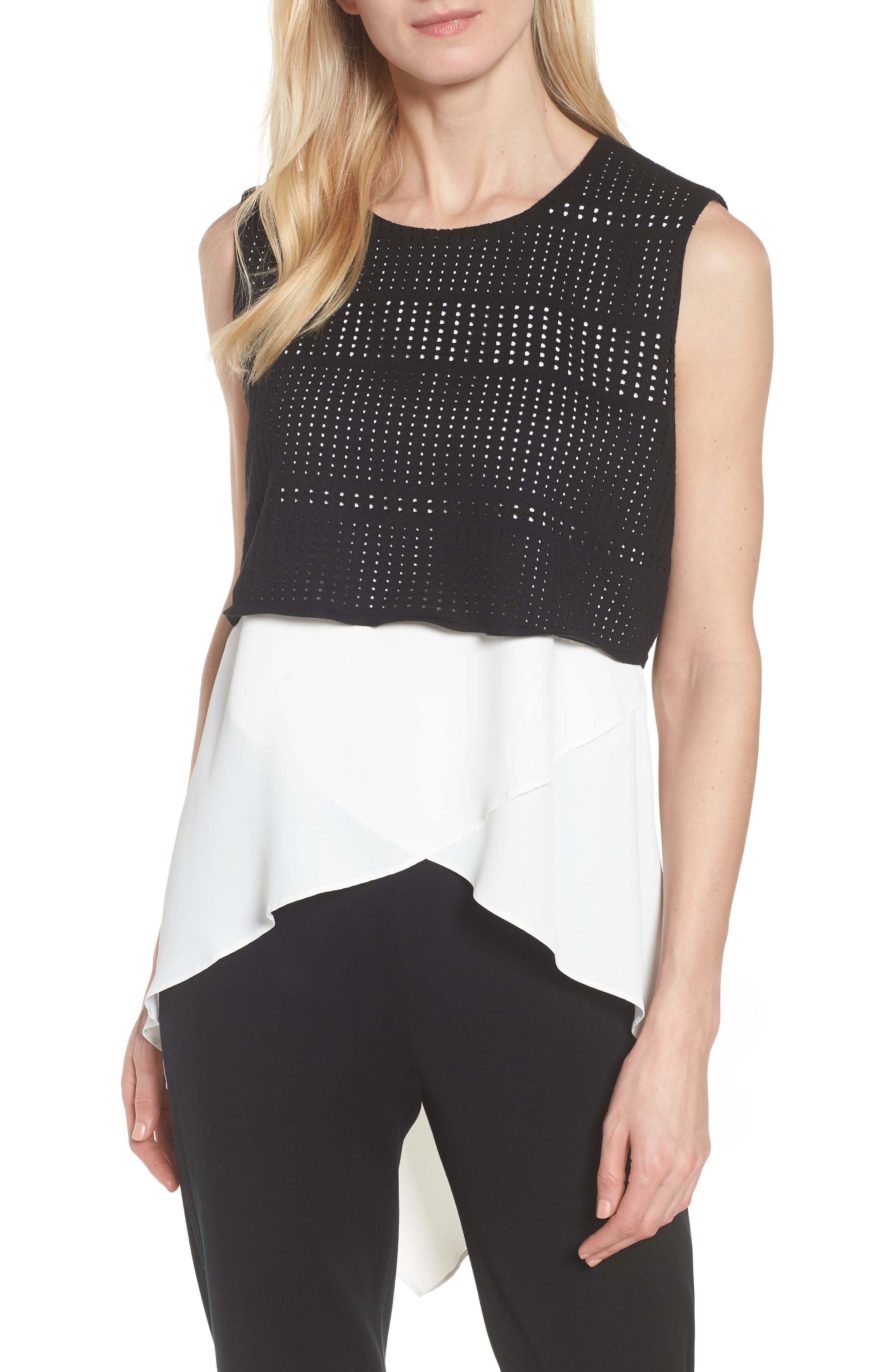 Mixed Media Tunic Top,                         Main,                         color, White/ Black