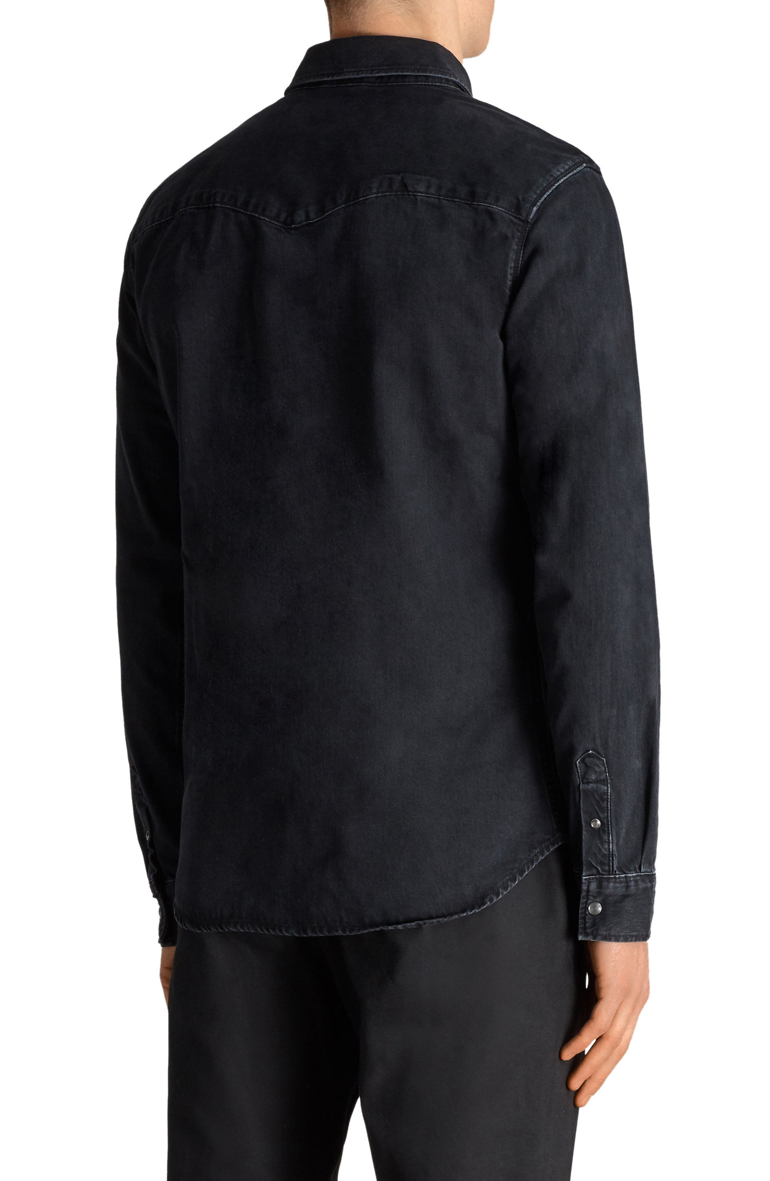 Beck Slim Fit Denim Sport Shirt,                             Alternate thumbnail 2, color,                             Black