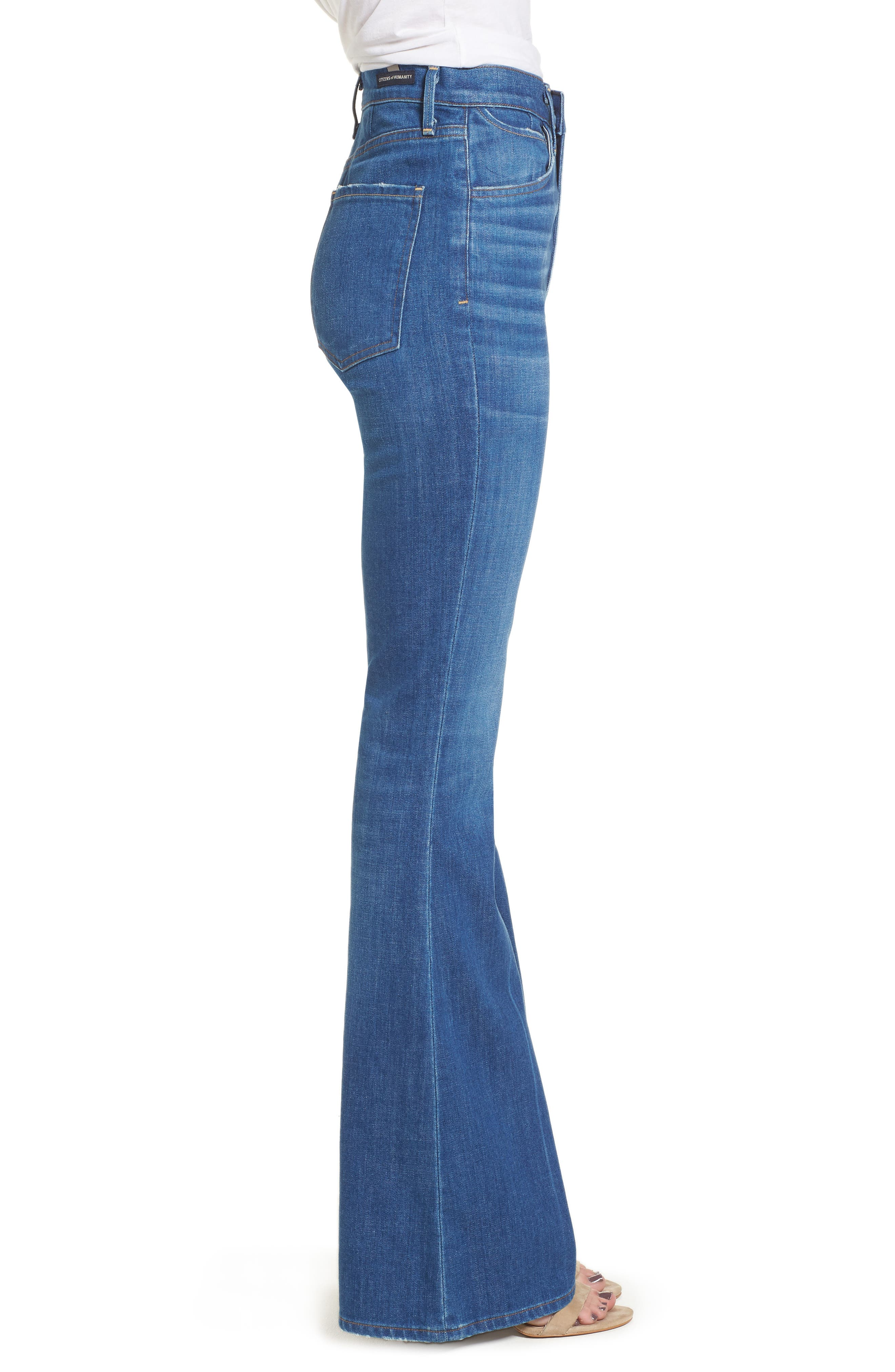 Cherie High Waist Bell Jeans,                             Alternate thumbnail 3, color,                             Frampton