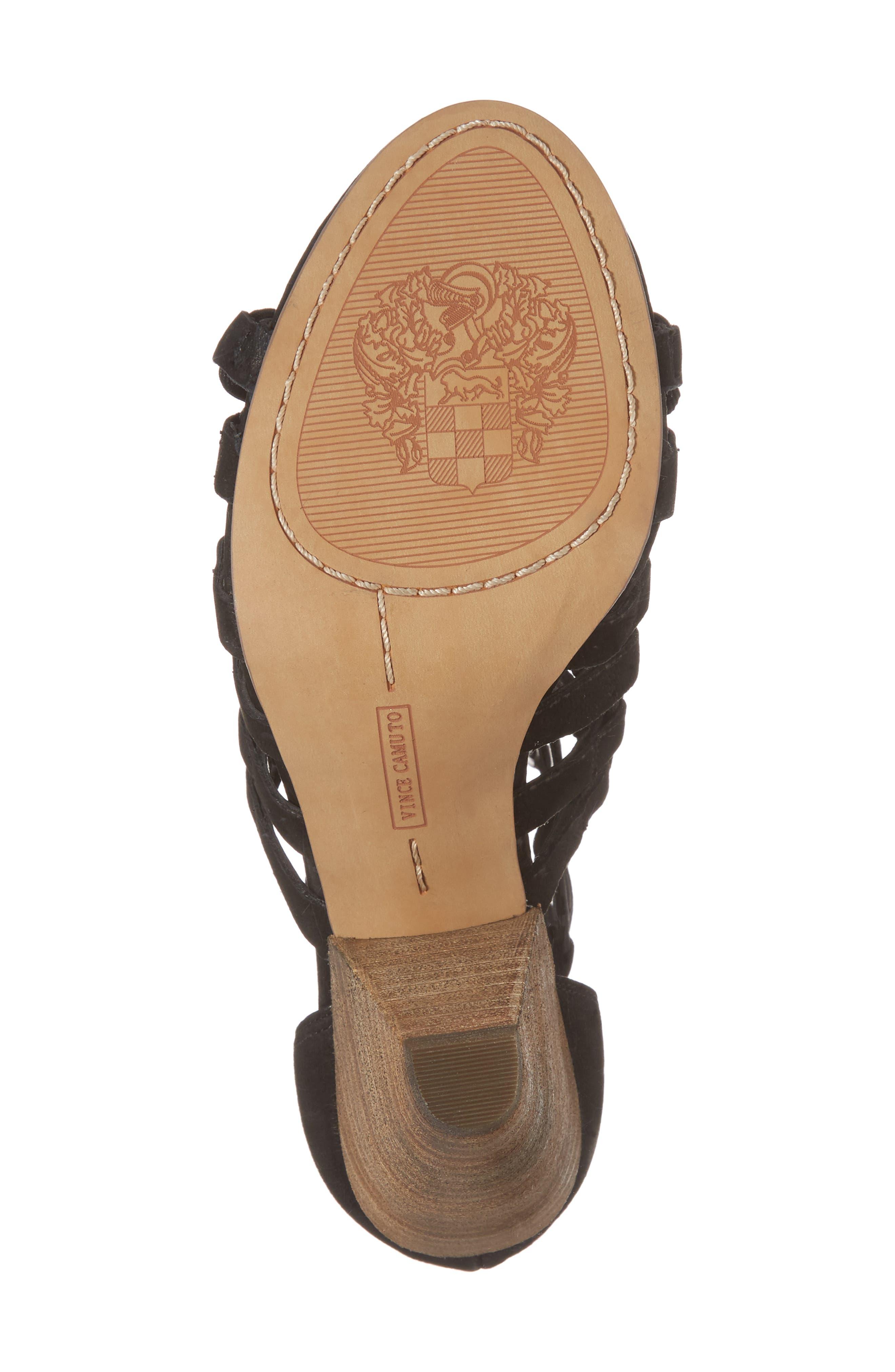 Elanso Sandal,                             Alternate thumbnail 6, color,                             Black Leather