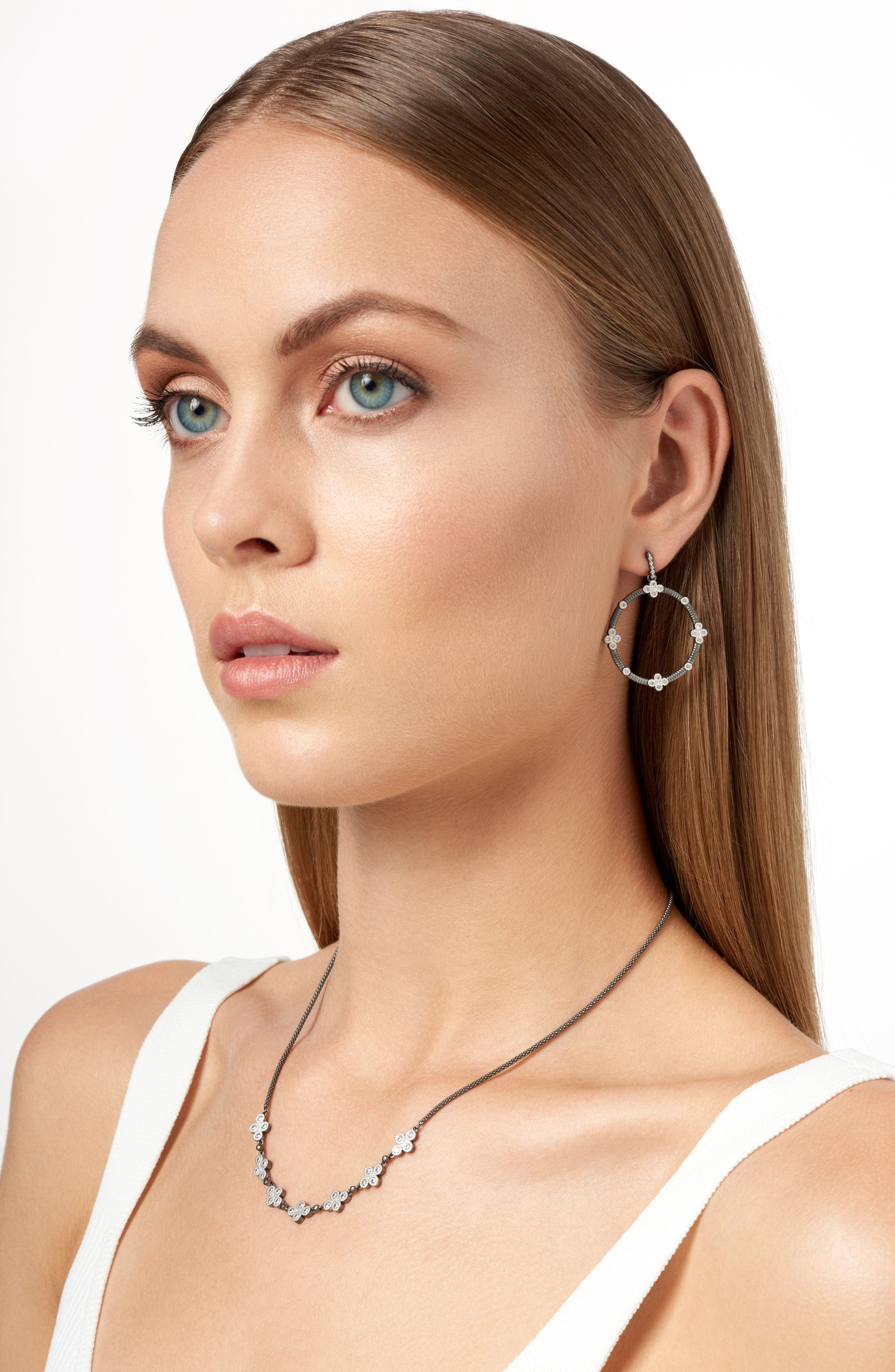 Four-Clover Point Frontal Hoop Earrings,                             Alternate thumbnail 3, color,                             Silver/ Black Rhodium
