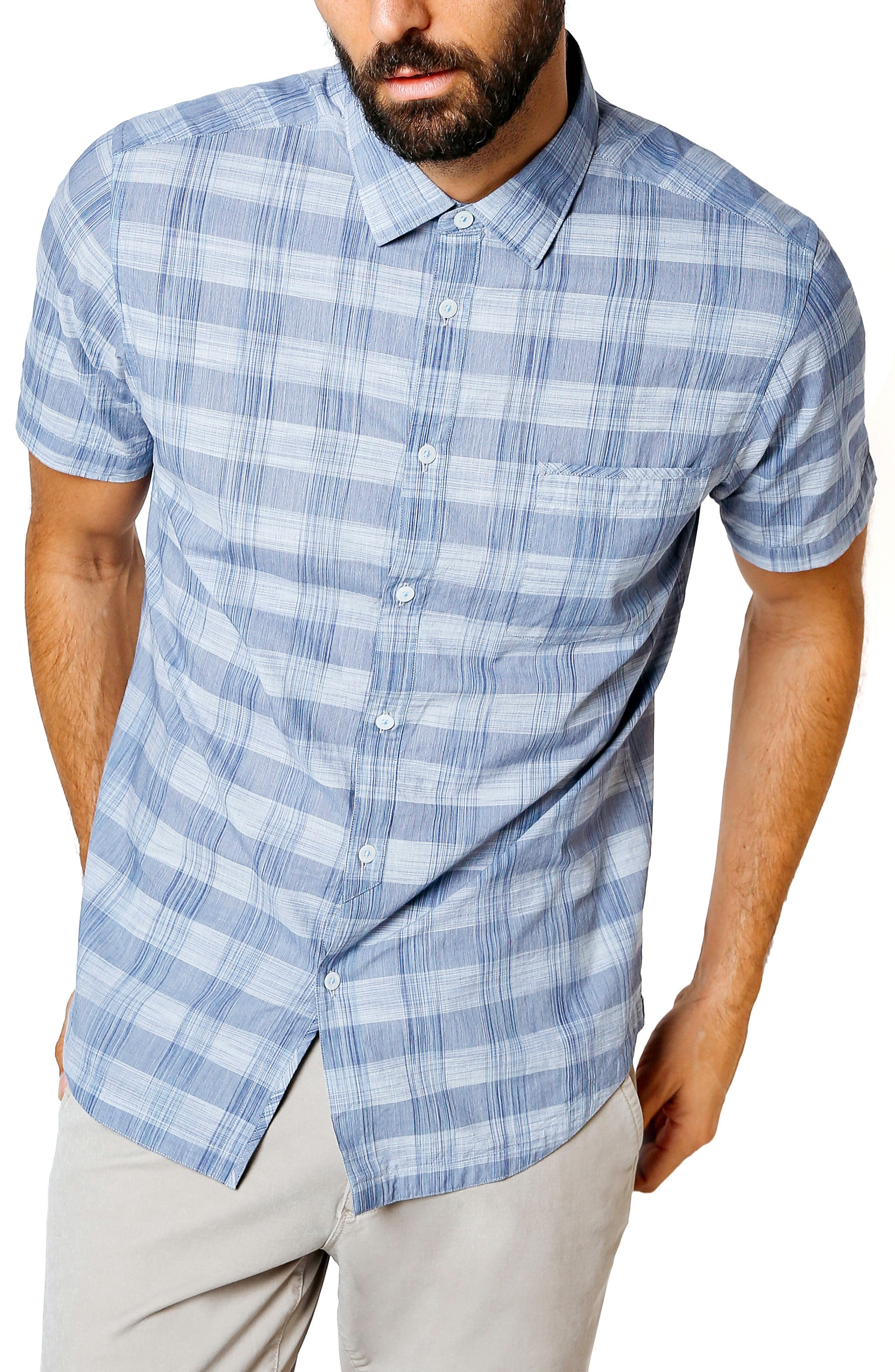 Palisade Space Trim Fit Check Sport Shirt,                         Main,                         color, Navy
