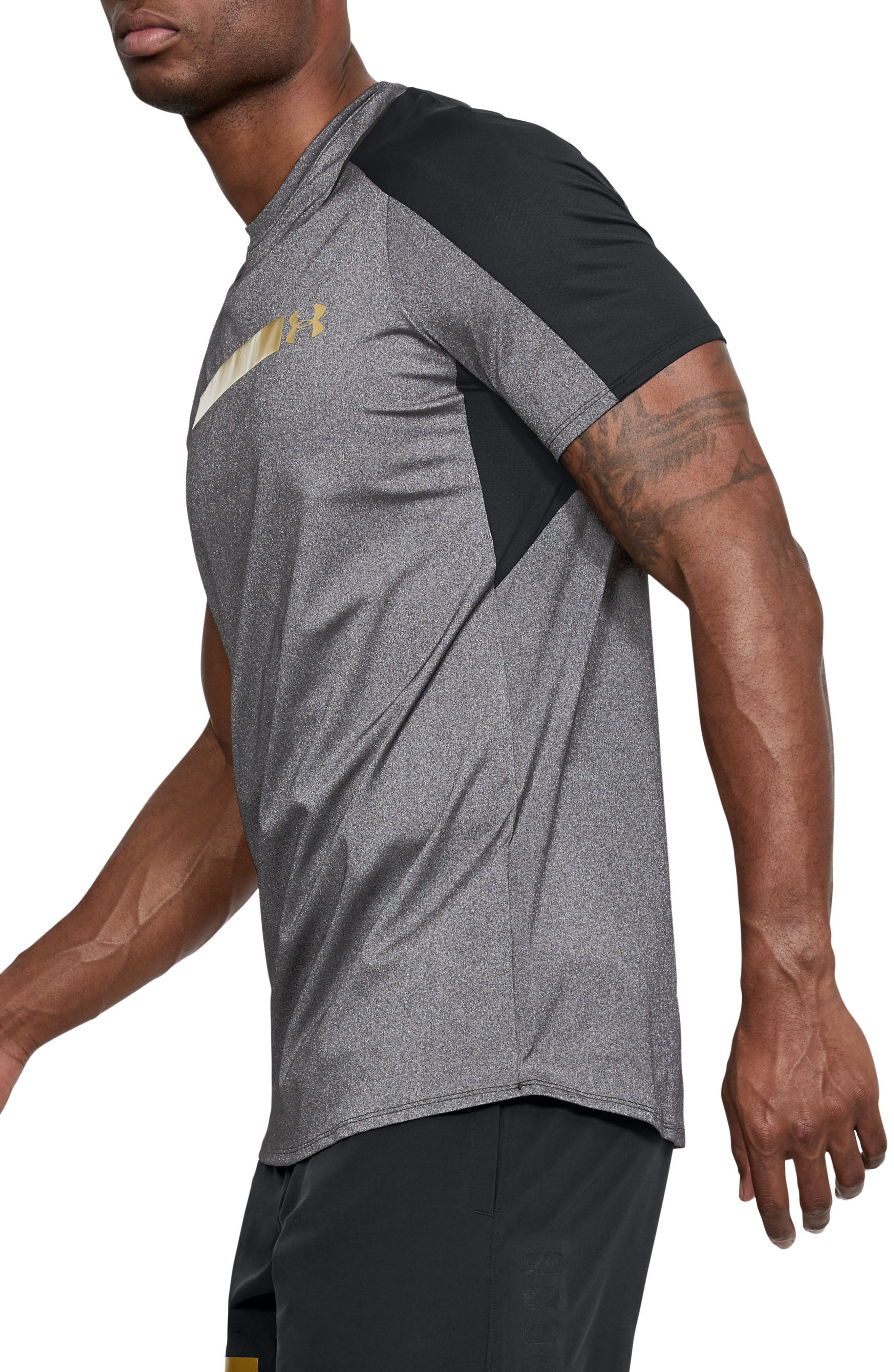 Perpetual Fitted Shirt,                             Alternate thumbnail 3, color,                             Black/ Metallic Victory Gold