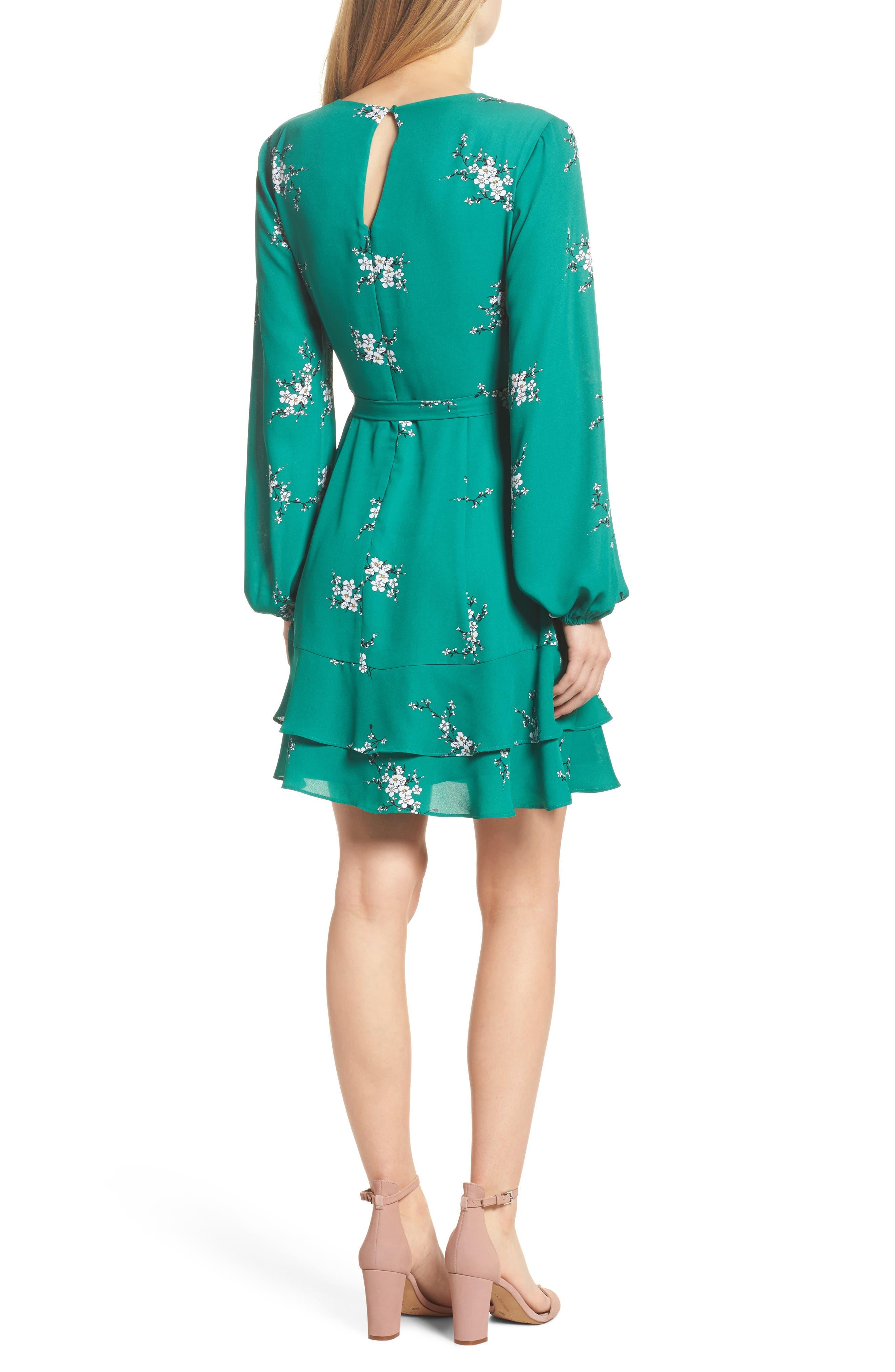 Floral Faux Wrap Dress,                             Alternate thumbnail 2, color,                             Green Branch Floral