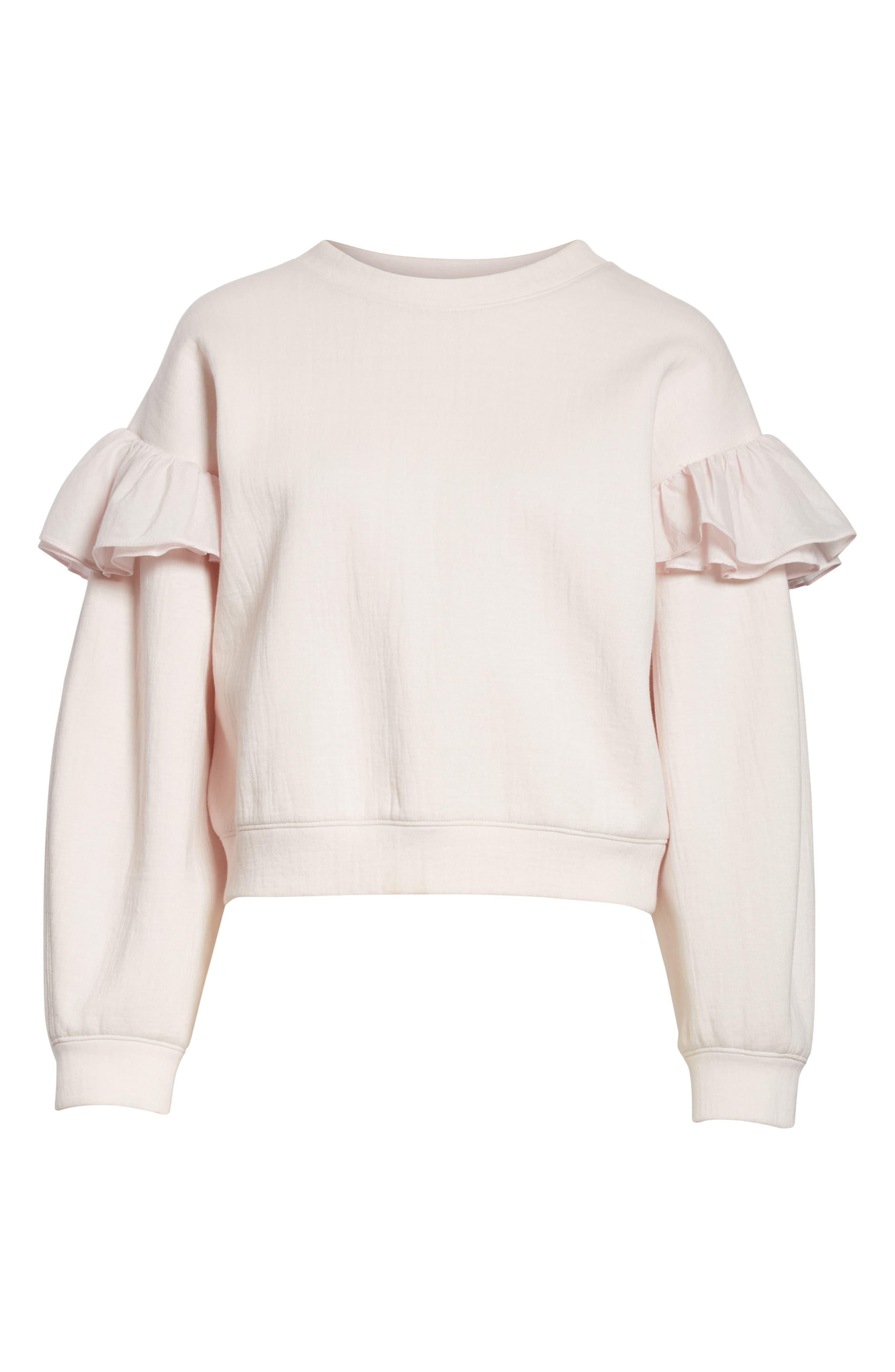 Ruffle Sleeve Sweatshirt,                             Alternate thumbnail 6, color,                             Candy Floss