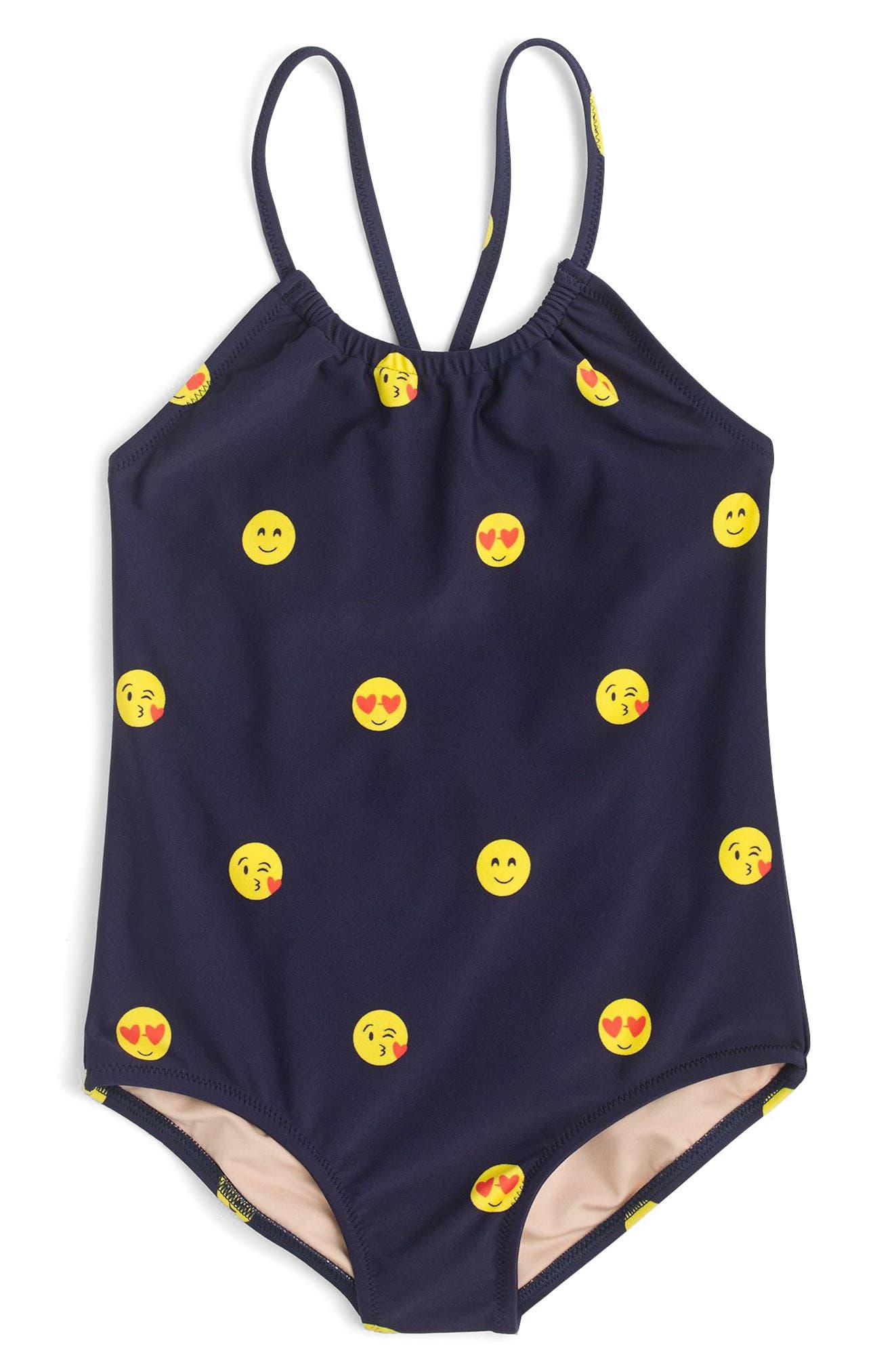 Emoji One-Piece Swimsuit,                         Main,                         color, Navy Lemon
