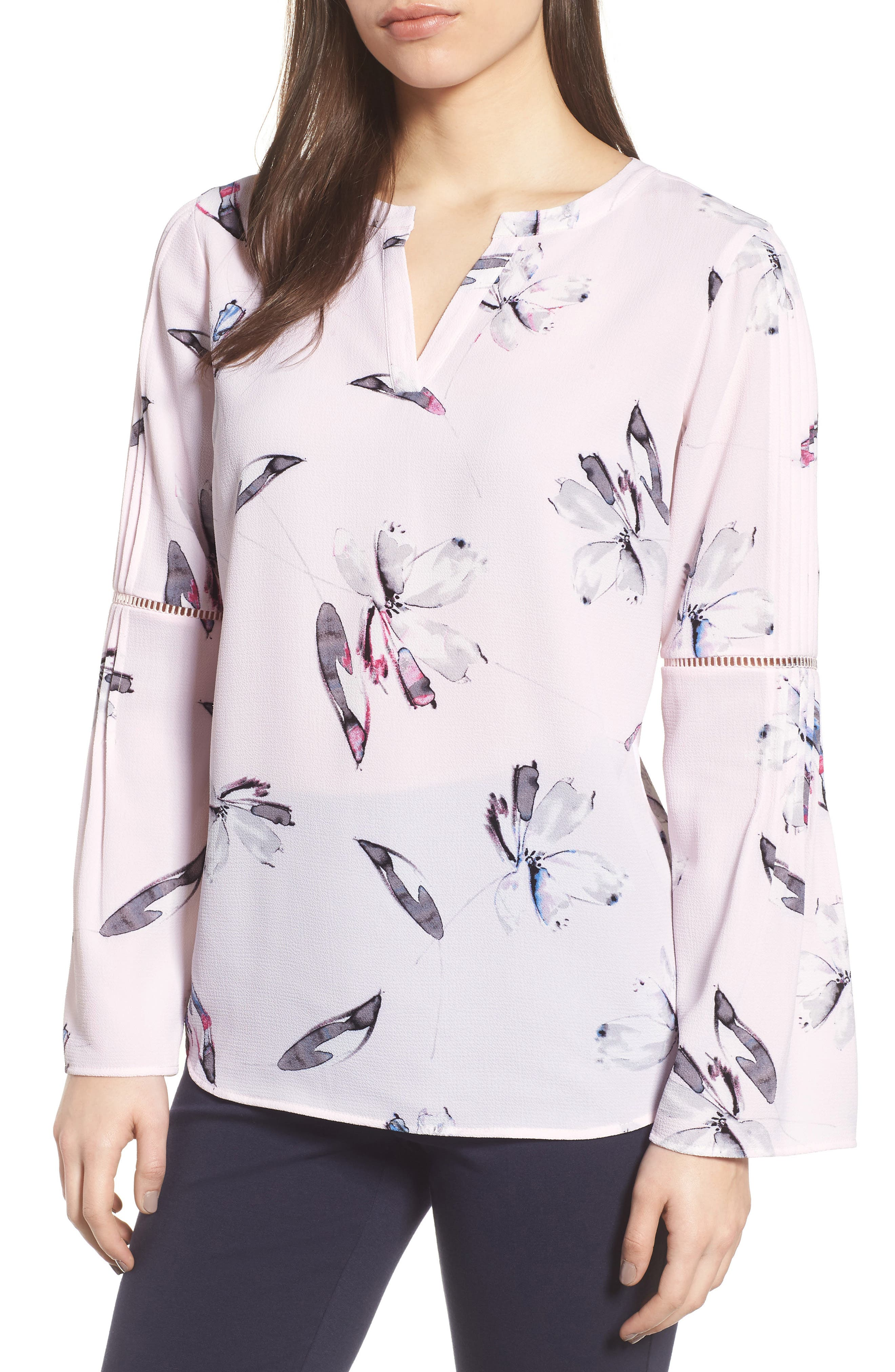 Pleated Bell Sleeve Floral Crepe Top,                             Main thumbnail 1, color,                             112-Light Pink
