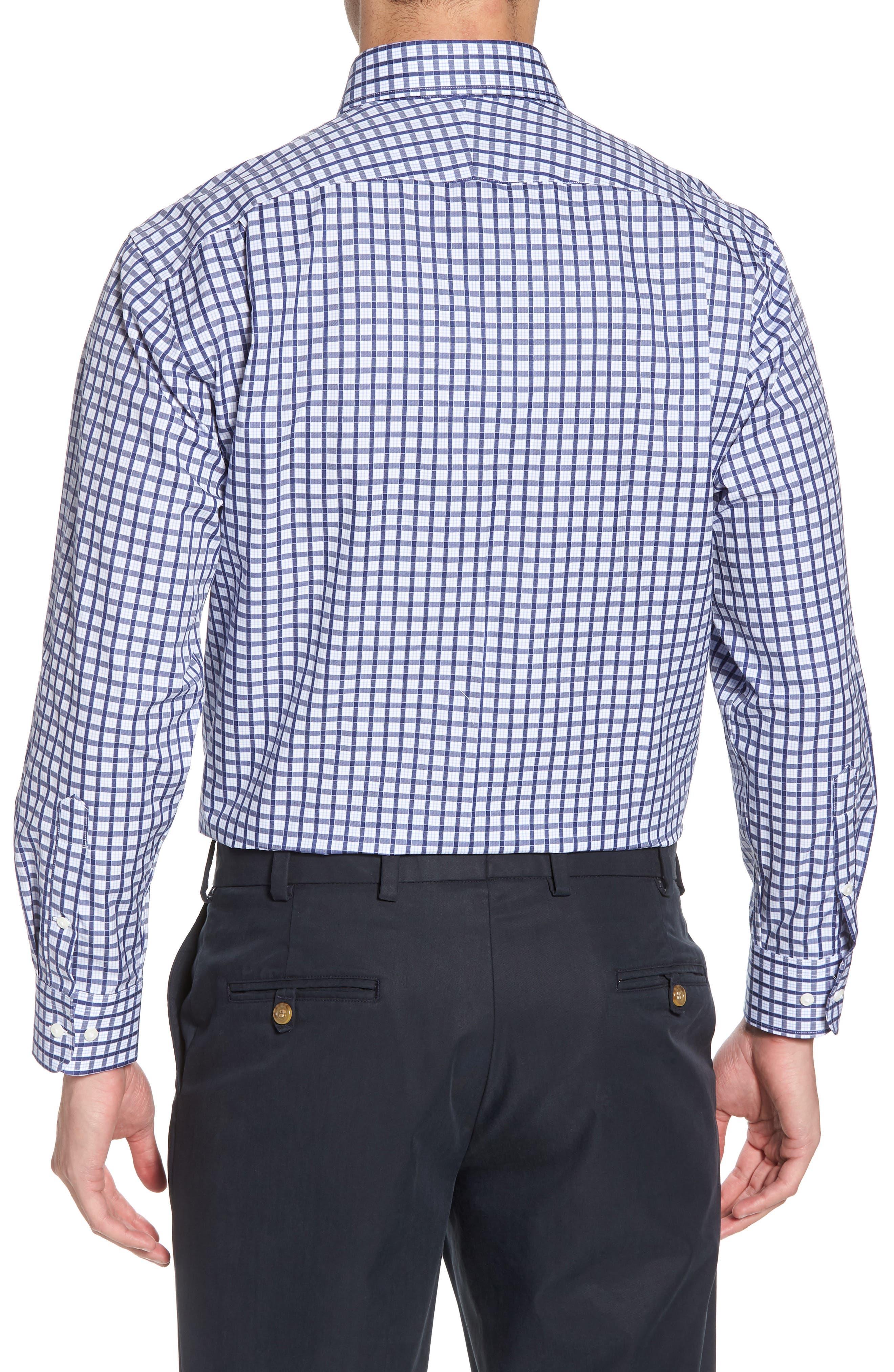 Traditional Fit Check Dress Shirt,                             Alternate thumbnail 3, color,                             Navy Ribbon