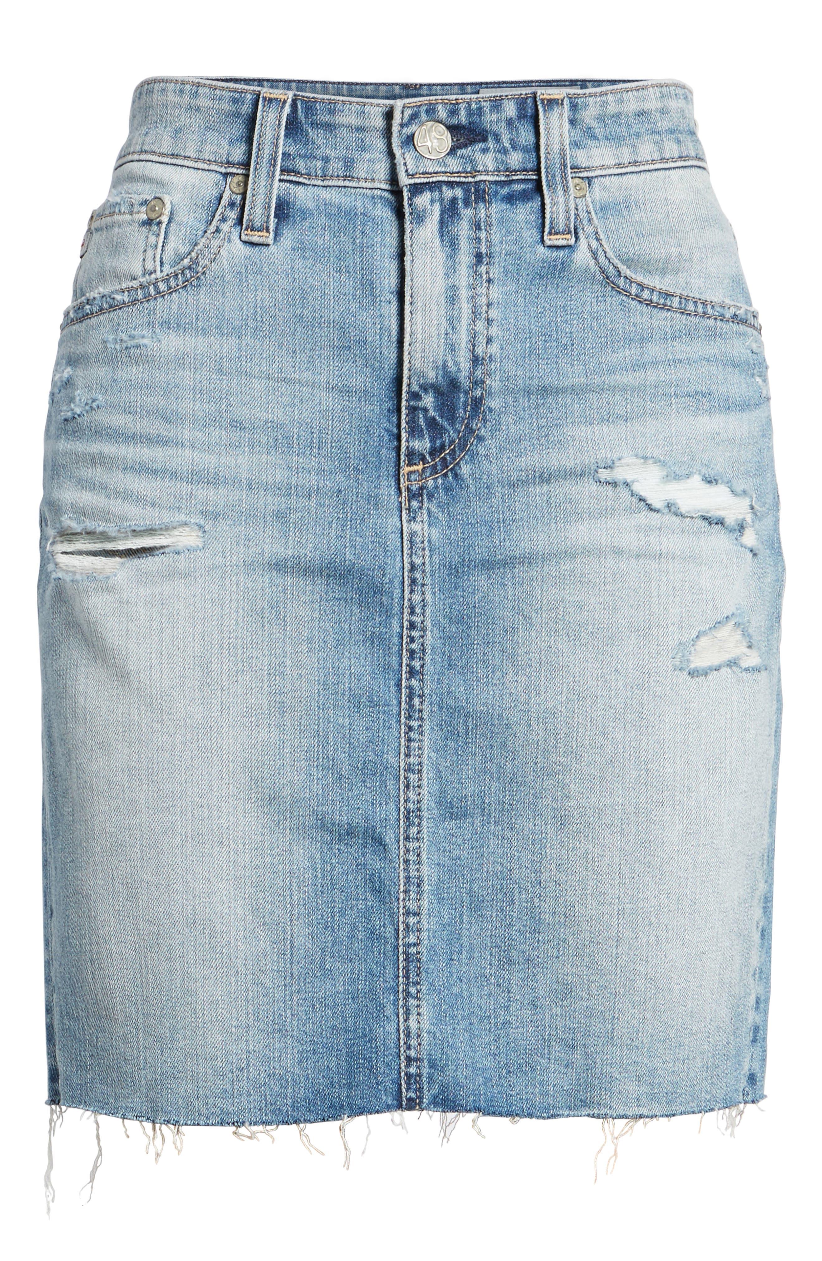 The Erin Distressed Denim Miniskirt,                             Alternate thumbnail 6, color,                             Indigo Deluge Destructed