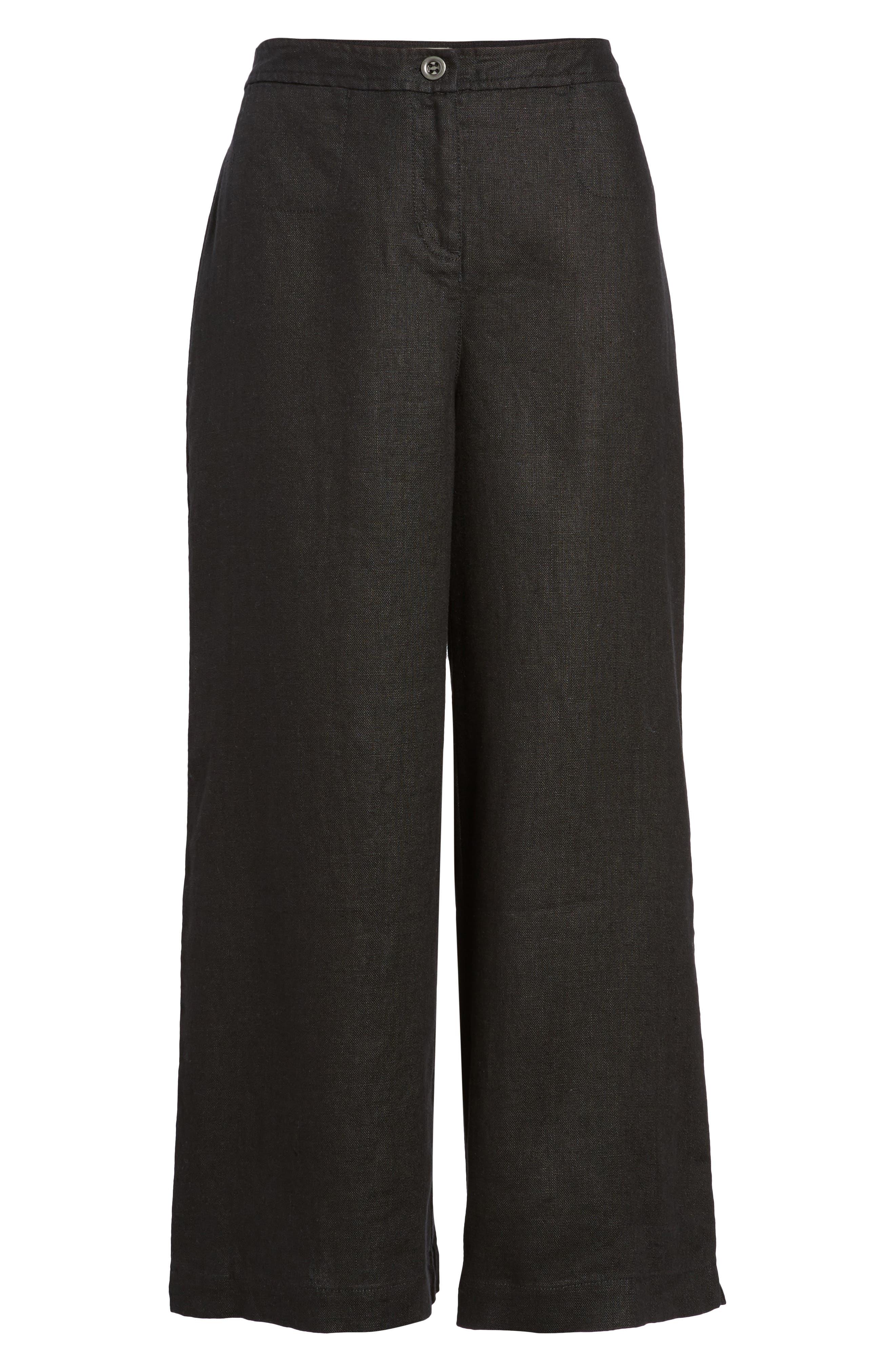 Wide Leg Organic Linen Pants,                             Alternate thumbnail 7, color,                             Black