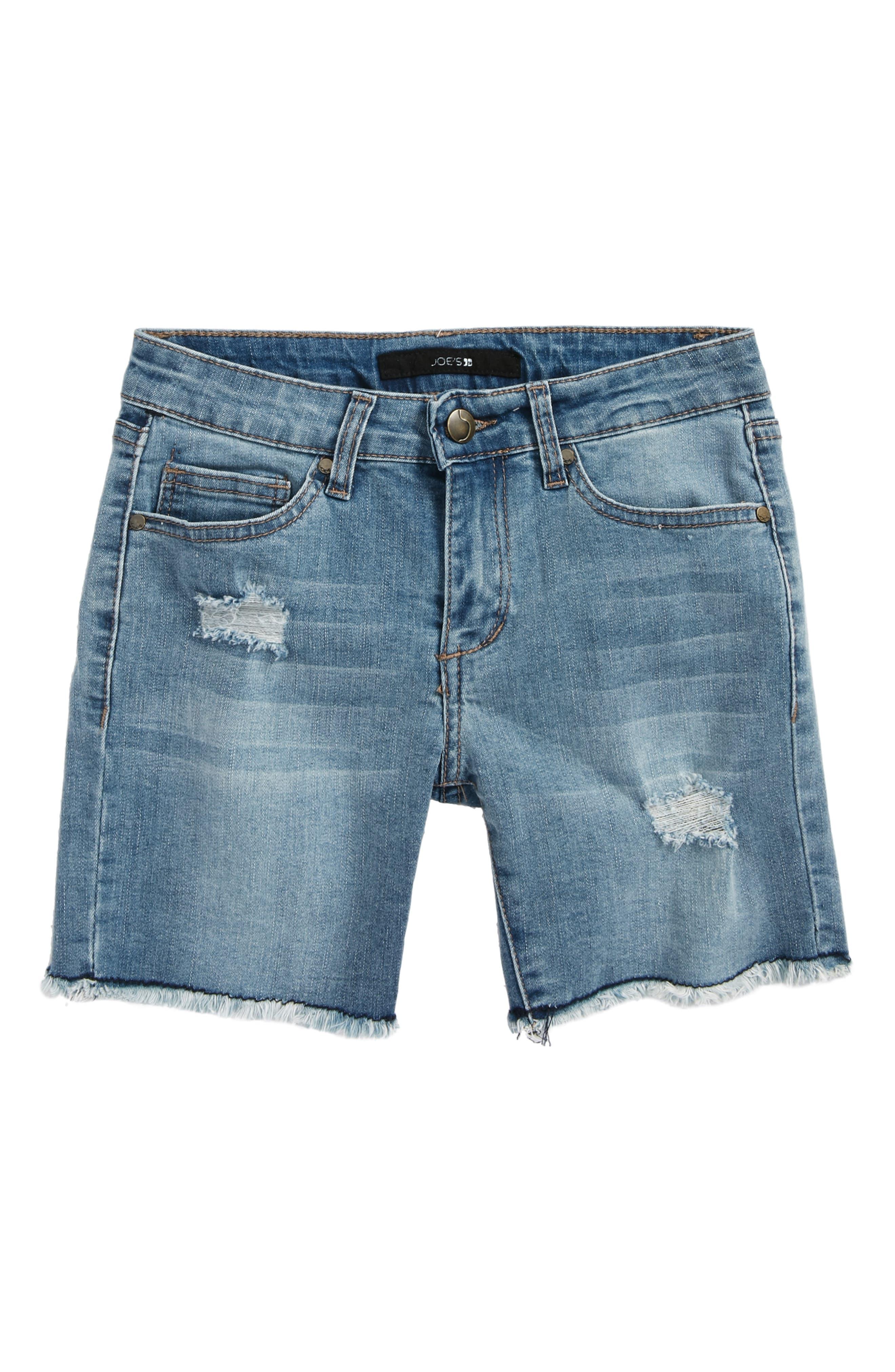 Frayed Mid Rise Bermuda Denim Shorts,                             Main thumbnail 1, color,                             Mdw-Medium Wash
