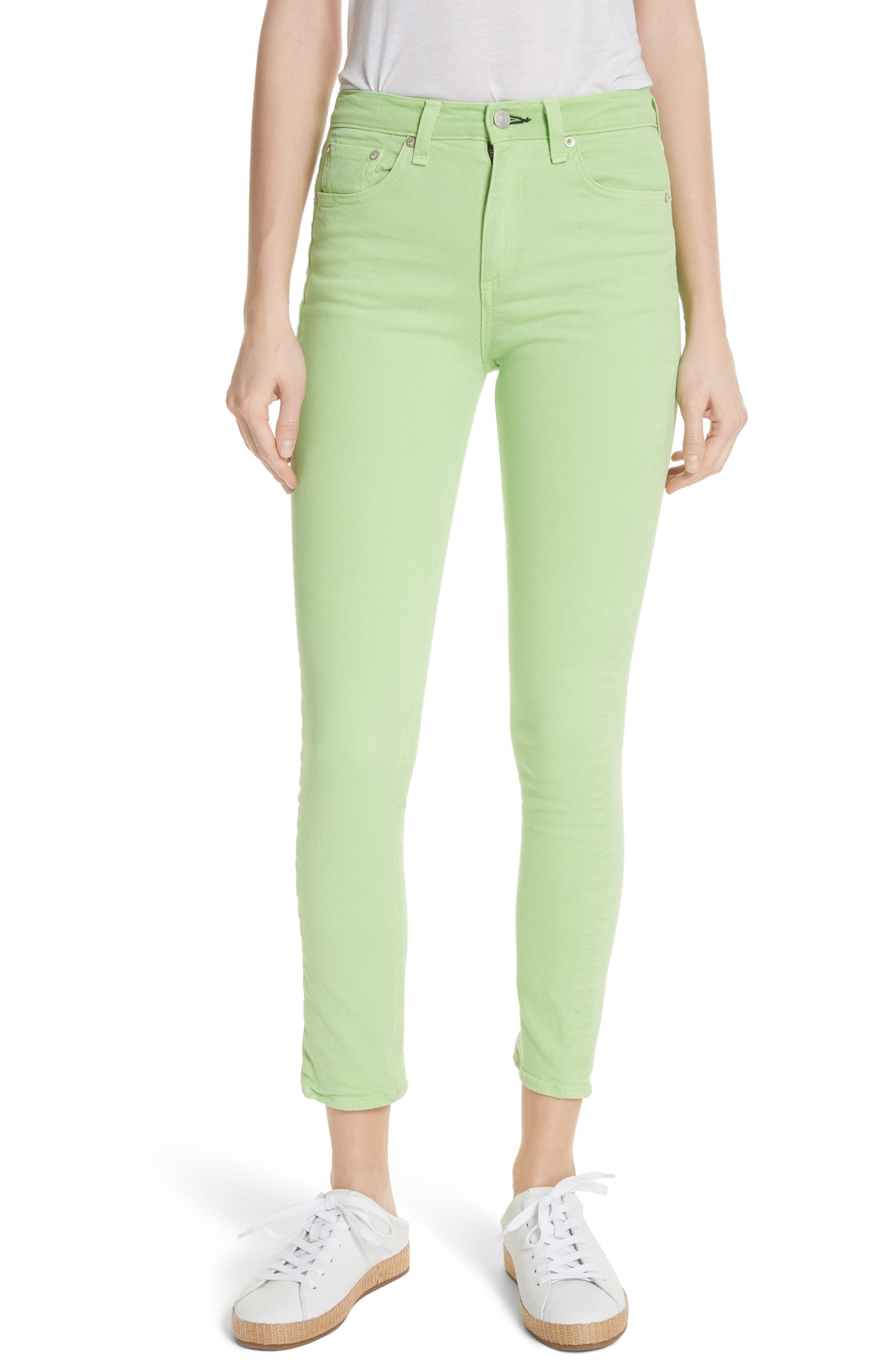 High Rise Skinny Jeans,                         Main,                         color, Lime