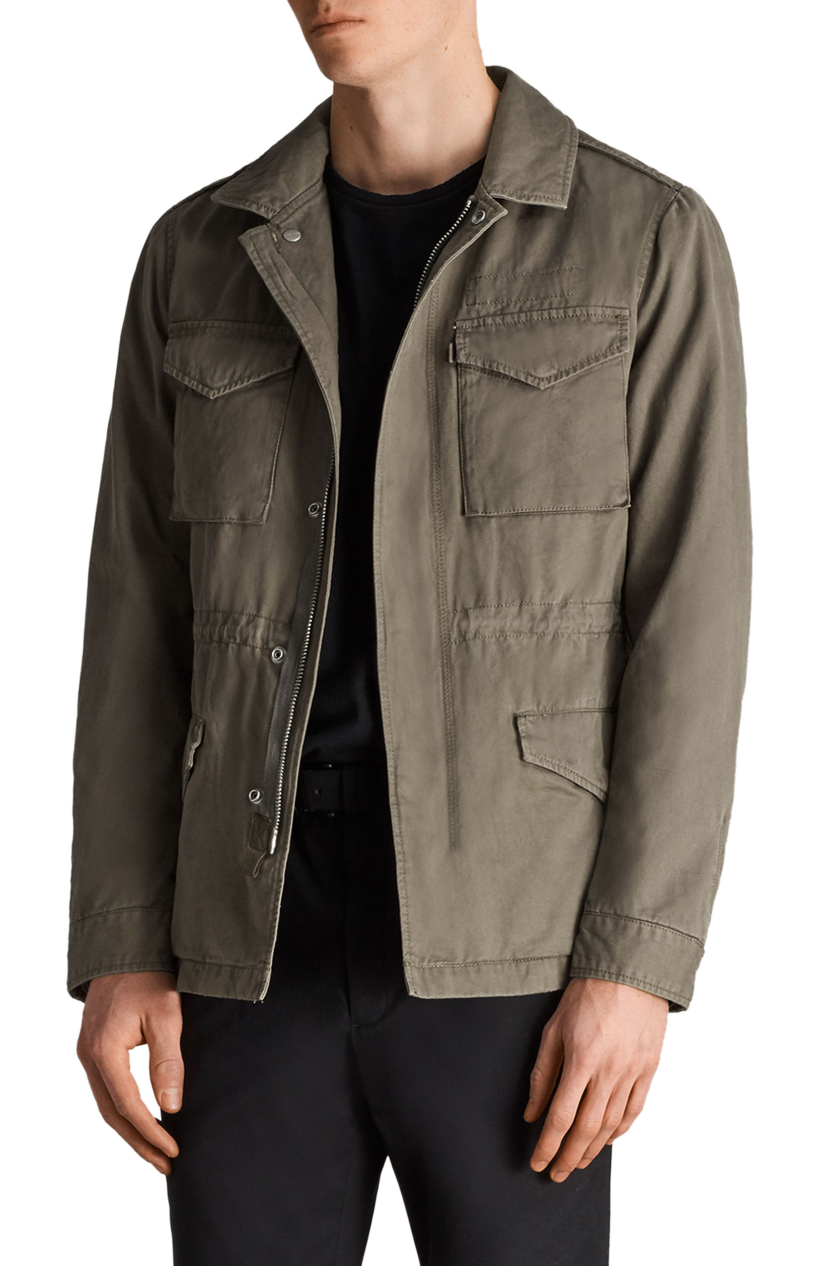 Cote Regular Fit Cotton Jacket,                             Alternate thumbnail 3, color,                             Dusty Olive