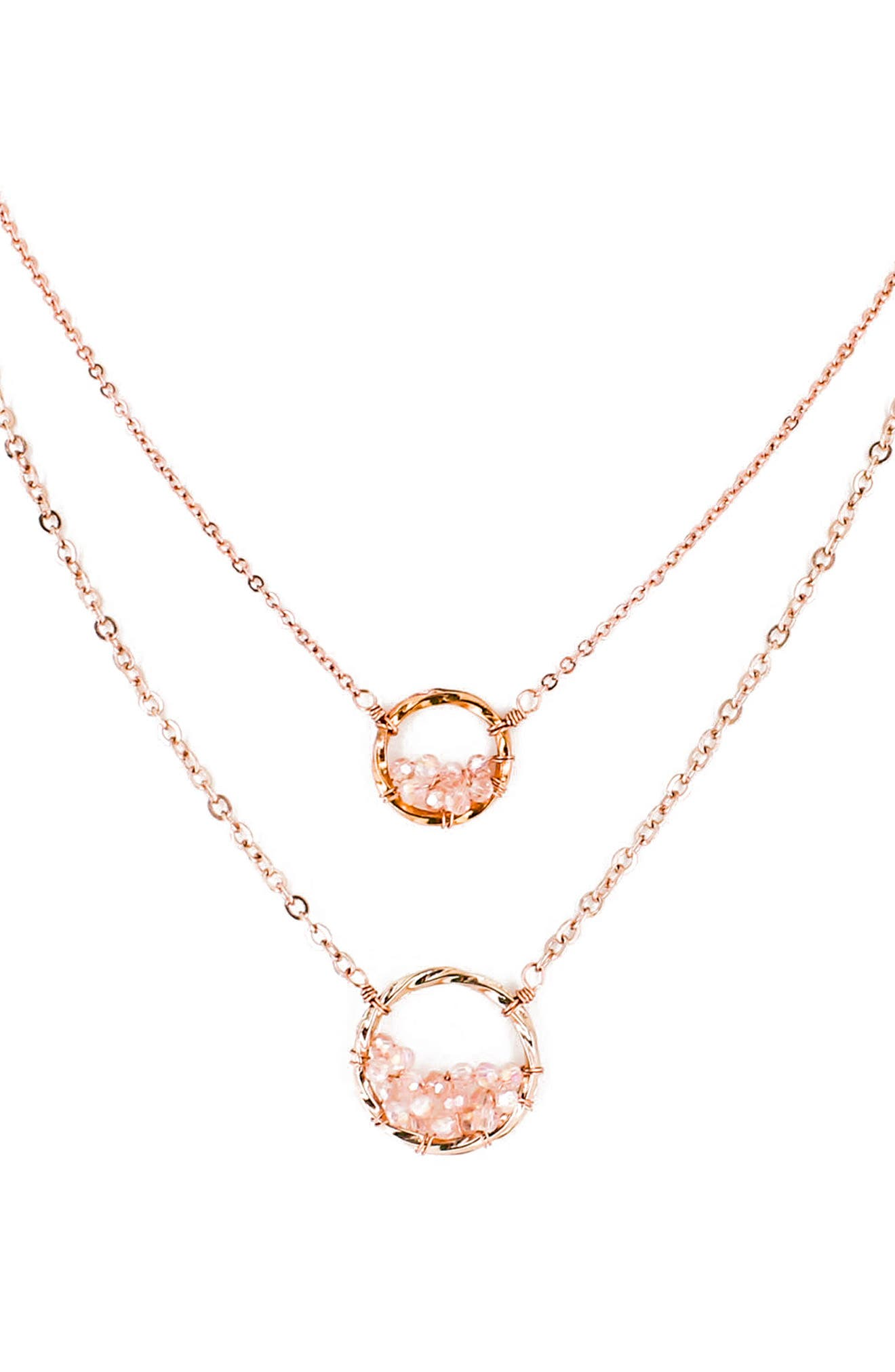 Main Image - Panacea Crystal Circle Double Chain Necklace