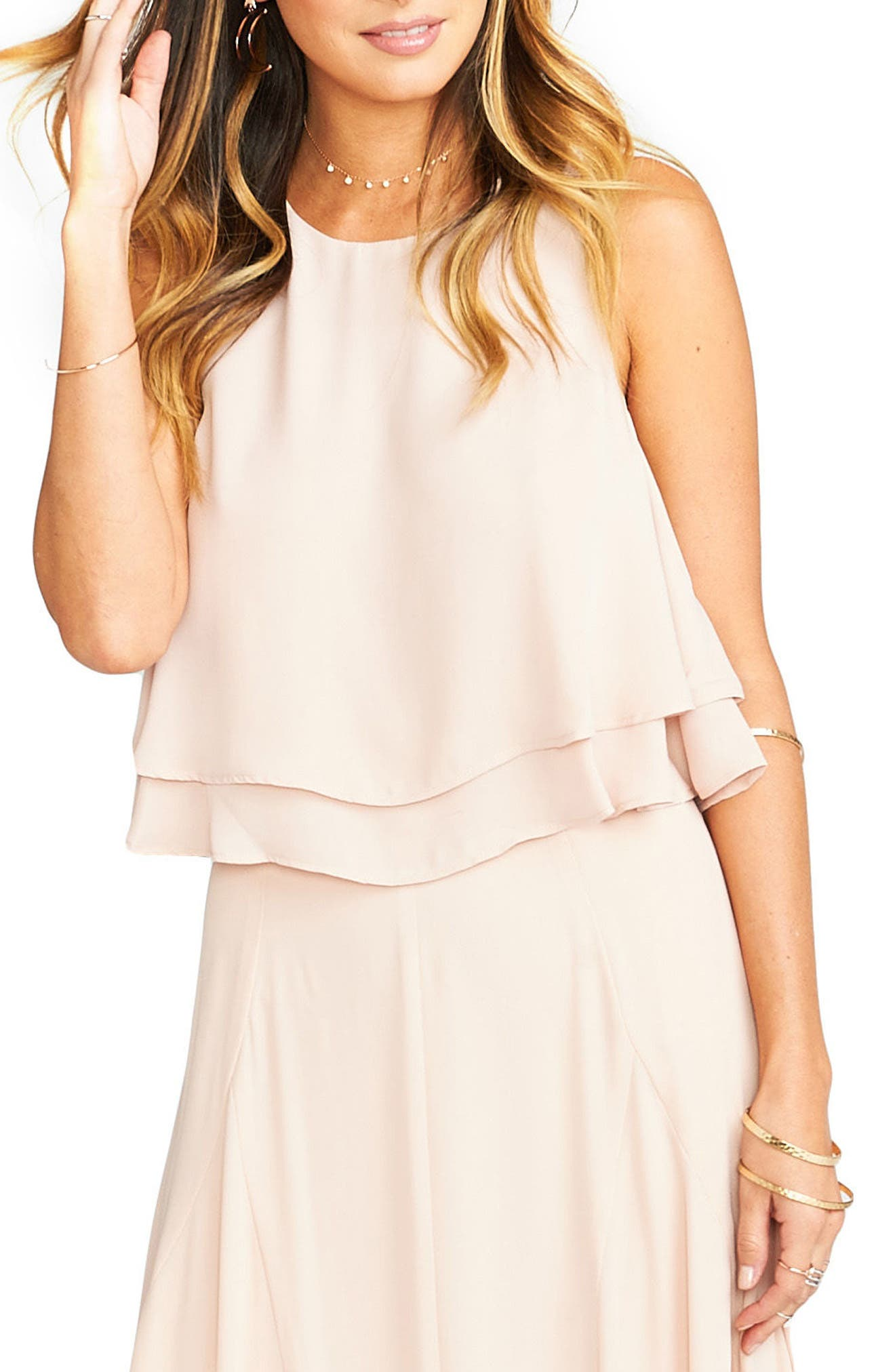 'King' Tiered Chiffon Crop Top,                         Main,                         color, Dusty Blush