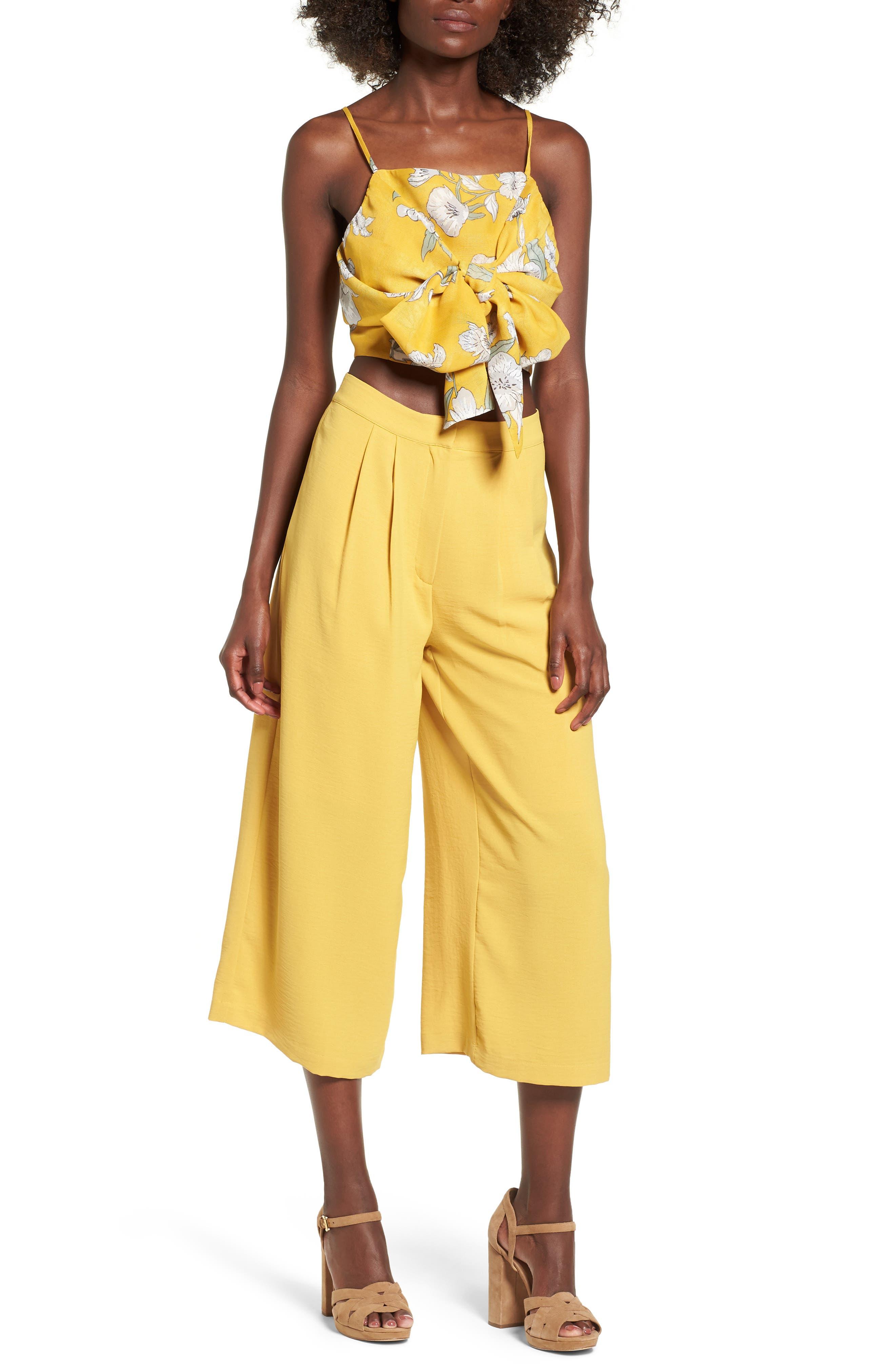 Chriselle x J.O.A. Pleat High Waist Crop Wide Leg Pants,                             Alternate thumbnail 3, color,                             Roman Gold