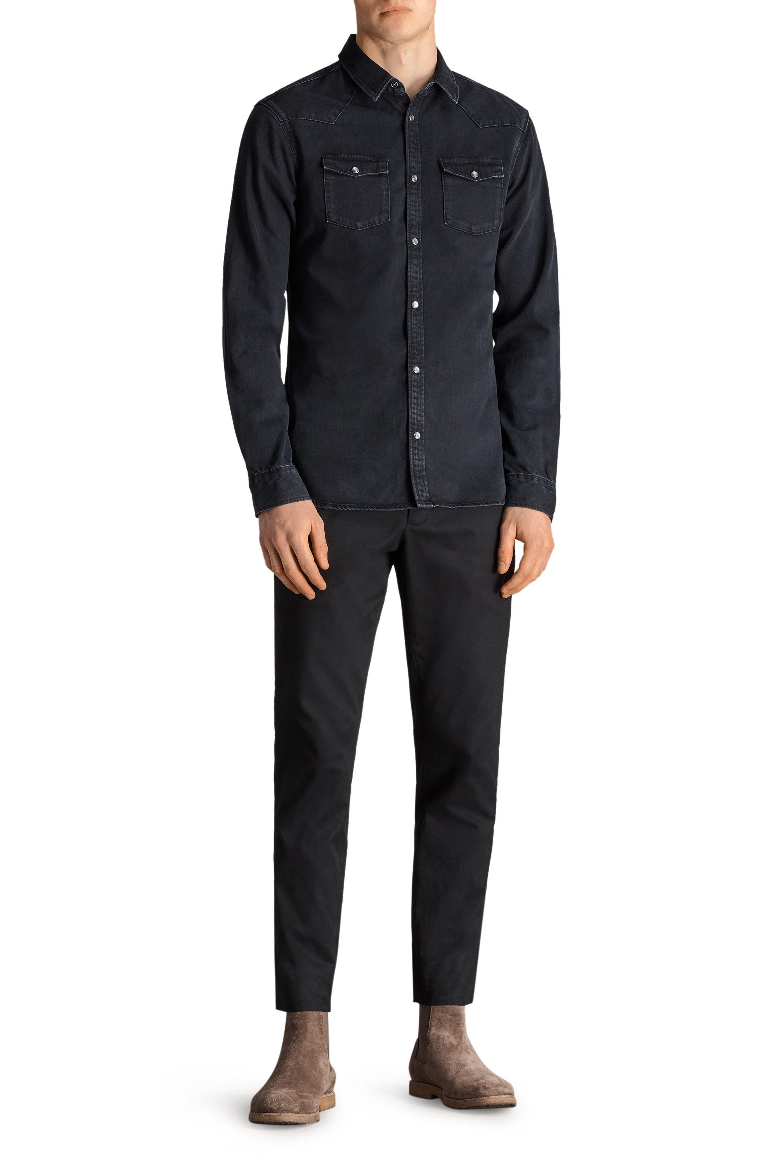 Beck Slim Fit Denim Sport Shirt,                             Alternate thumbnail 4, color,                             Black
