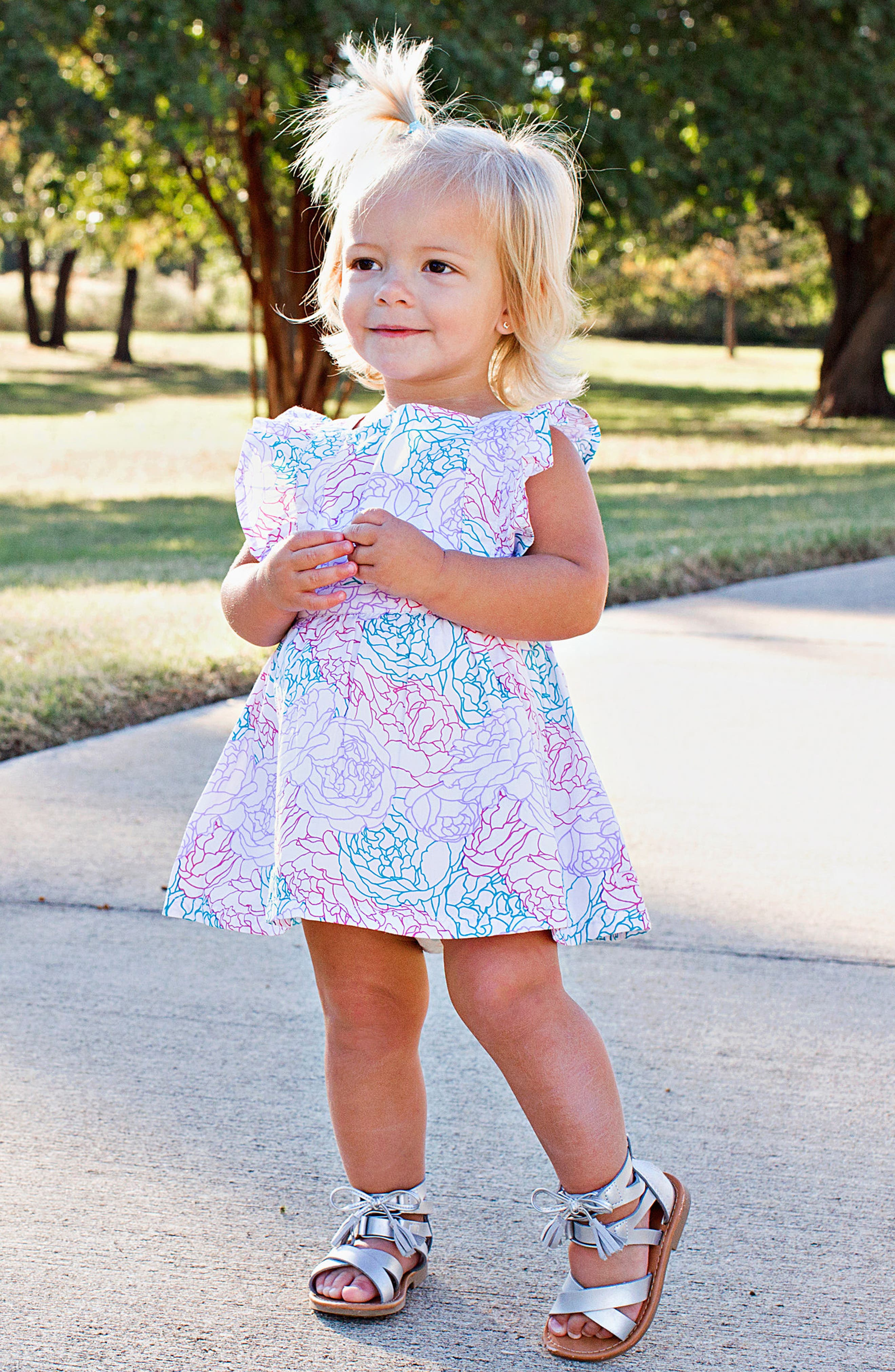 Peony Party Dress,                             Alternate thumbnail 3, color,                             White