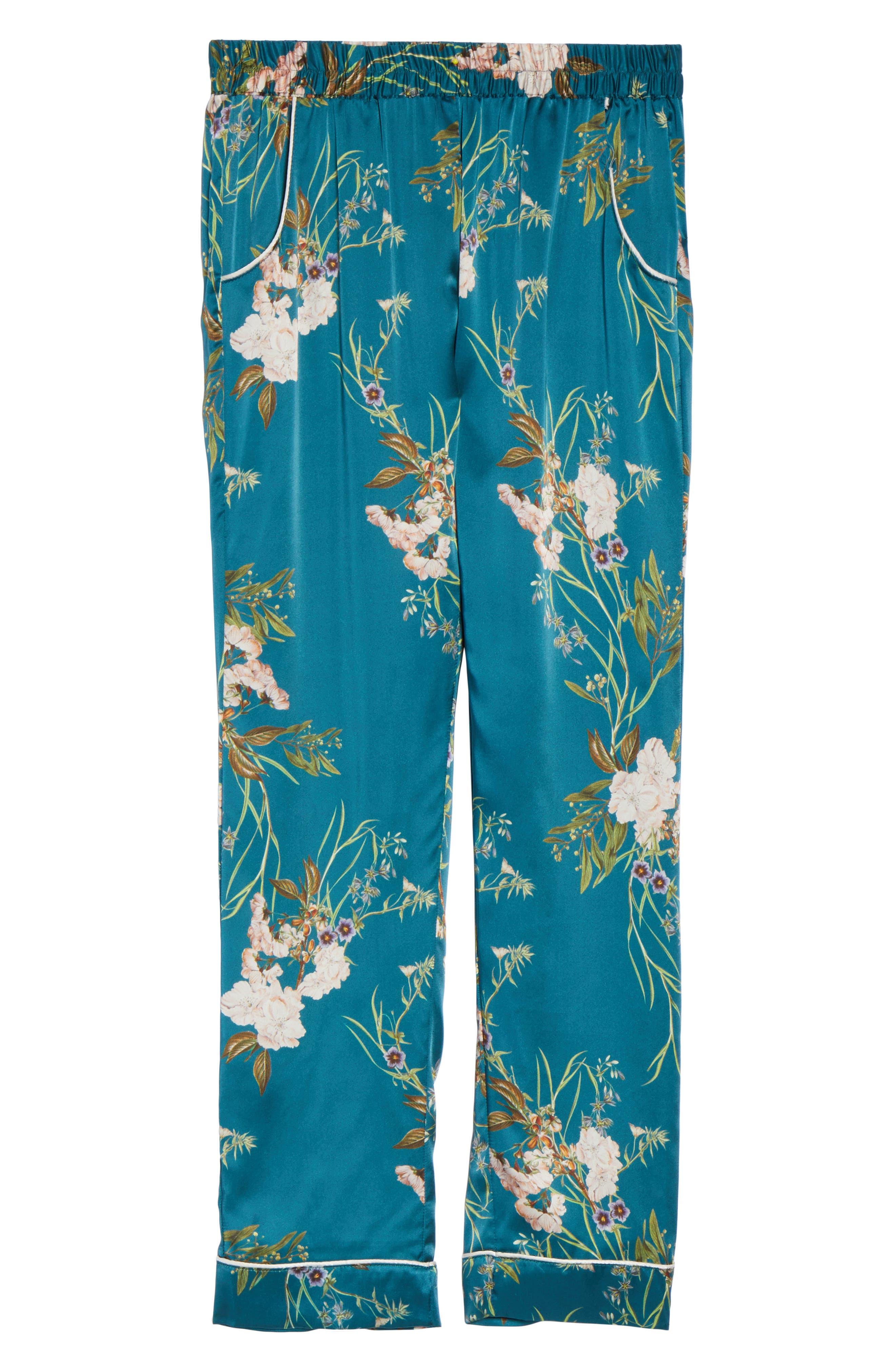 Alexandra Silk Pajama Pants,                             Alternate thumbnail 4, color,                             Teal Floral