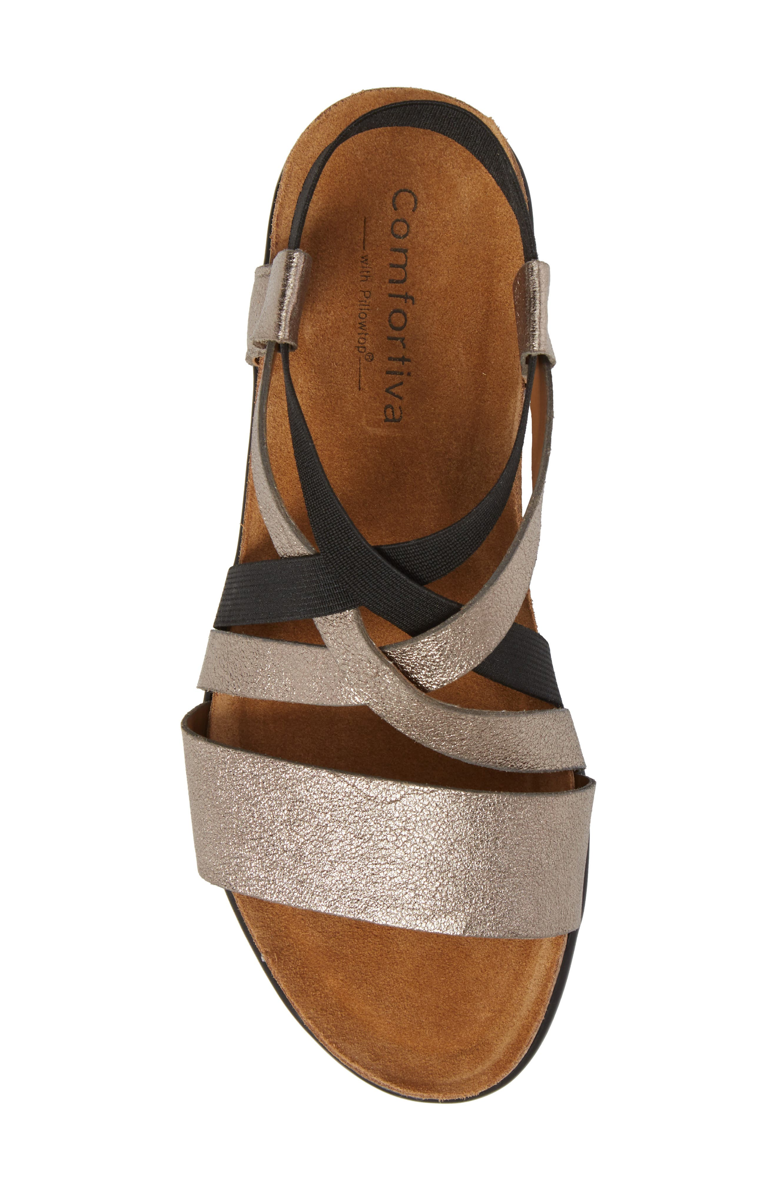 Eva Sandal,                             Alternate thumbnail 5, color,                             Anthracite Leather