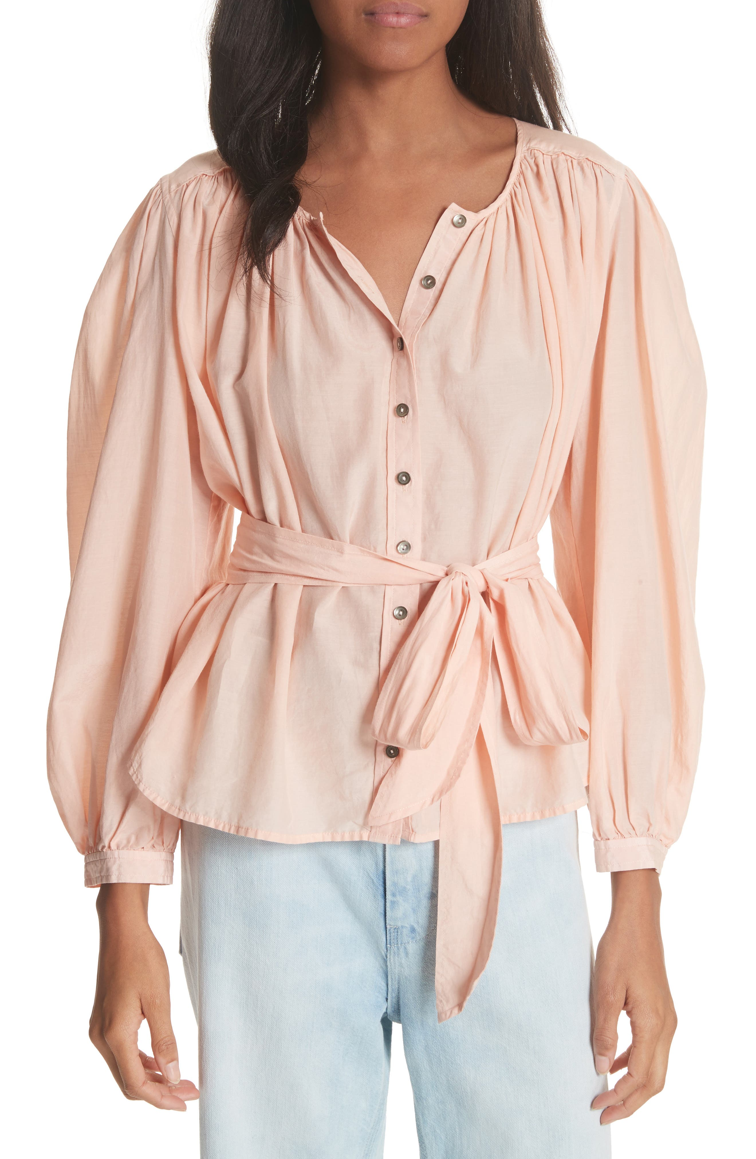 Belted Cotton & Silk Top,                             Main thumbnail 1, color,                             Rose Cloud