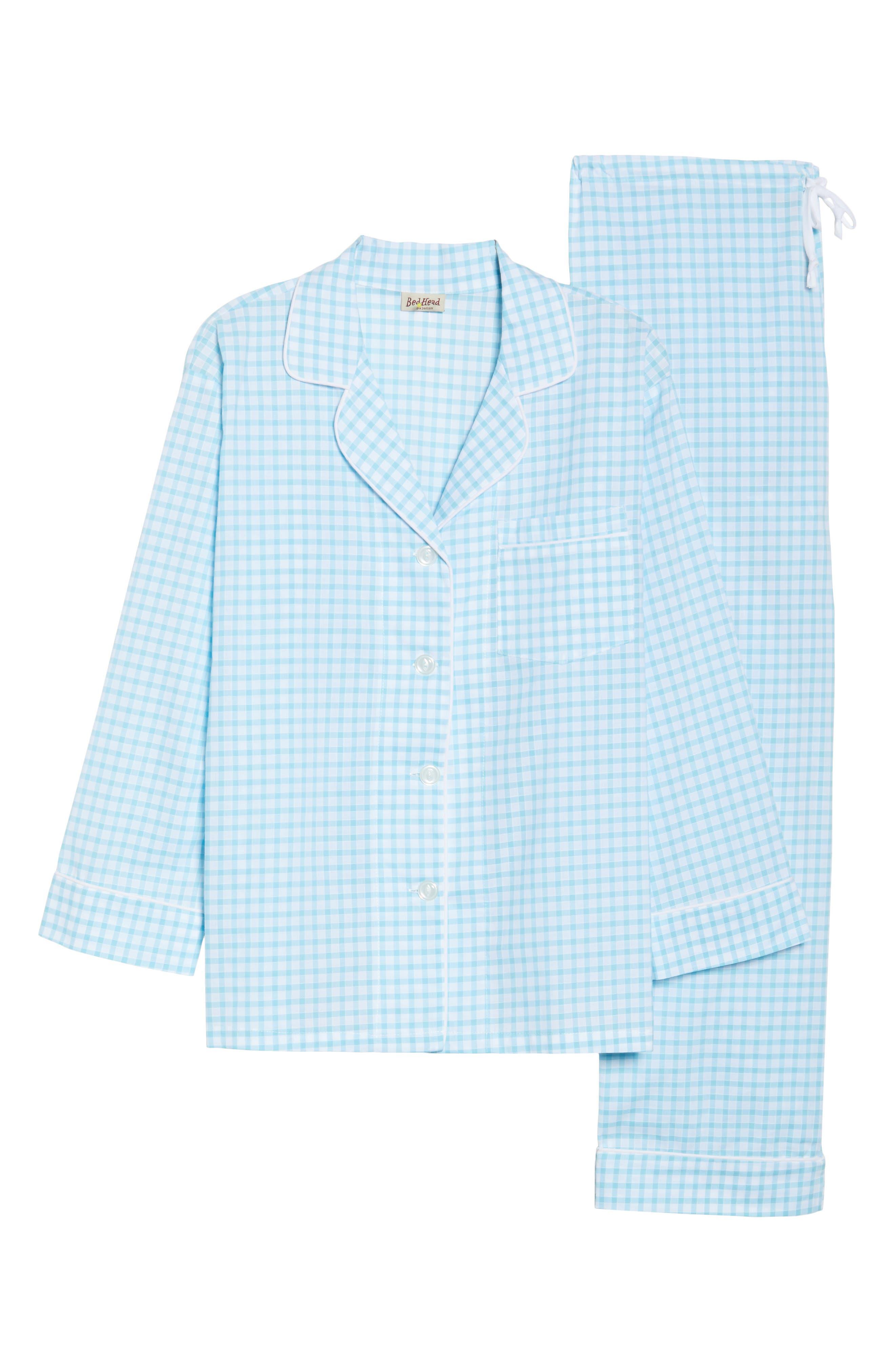 Gingham Pajamas,                             Alternate thumbnail 4, color,                             Aqua Gingham