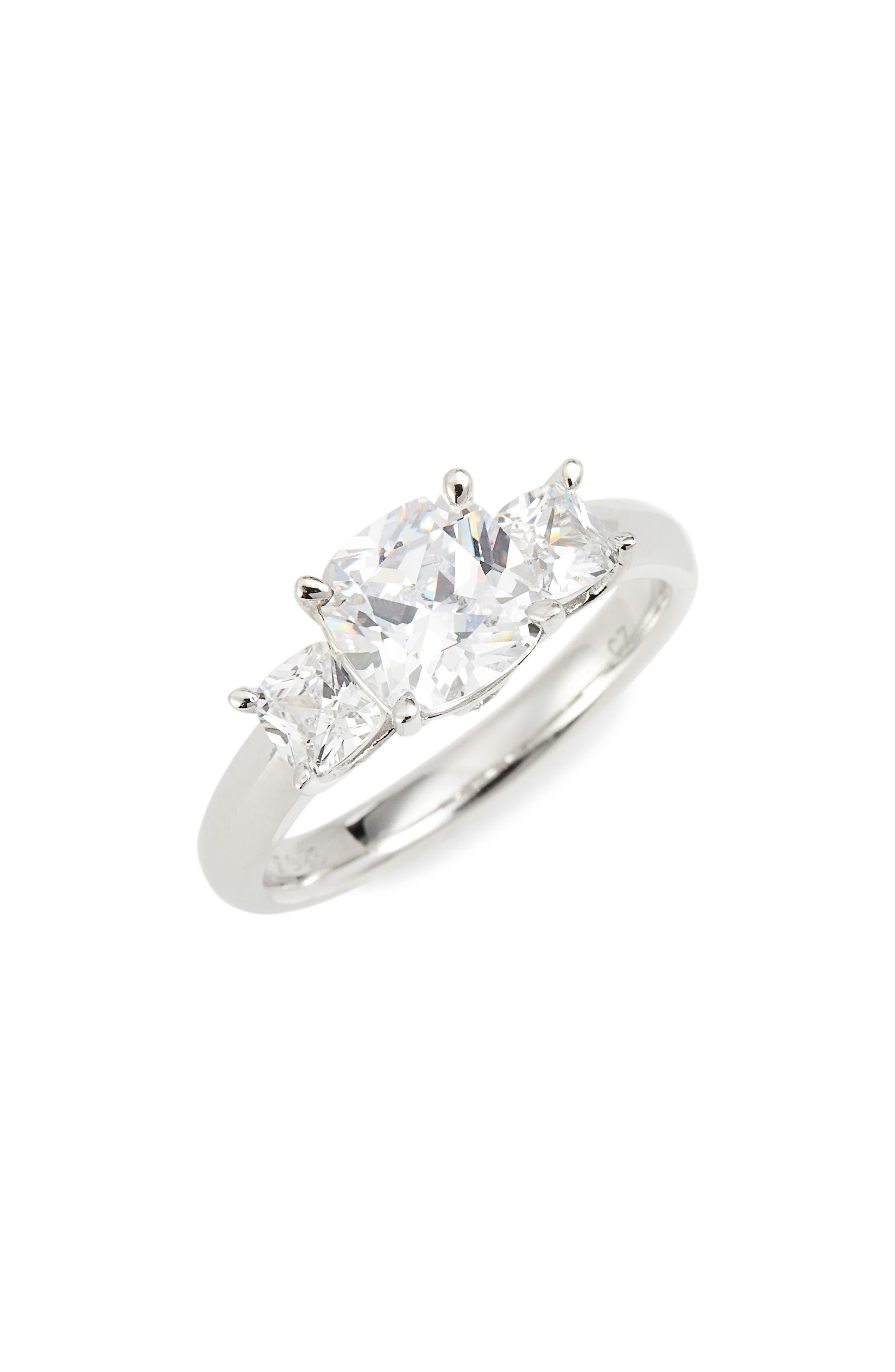 3-Stone Cushion Ring,                         Main,                         color, Platinum