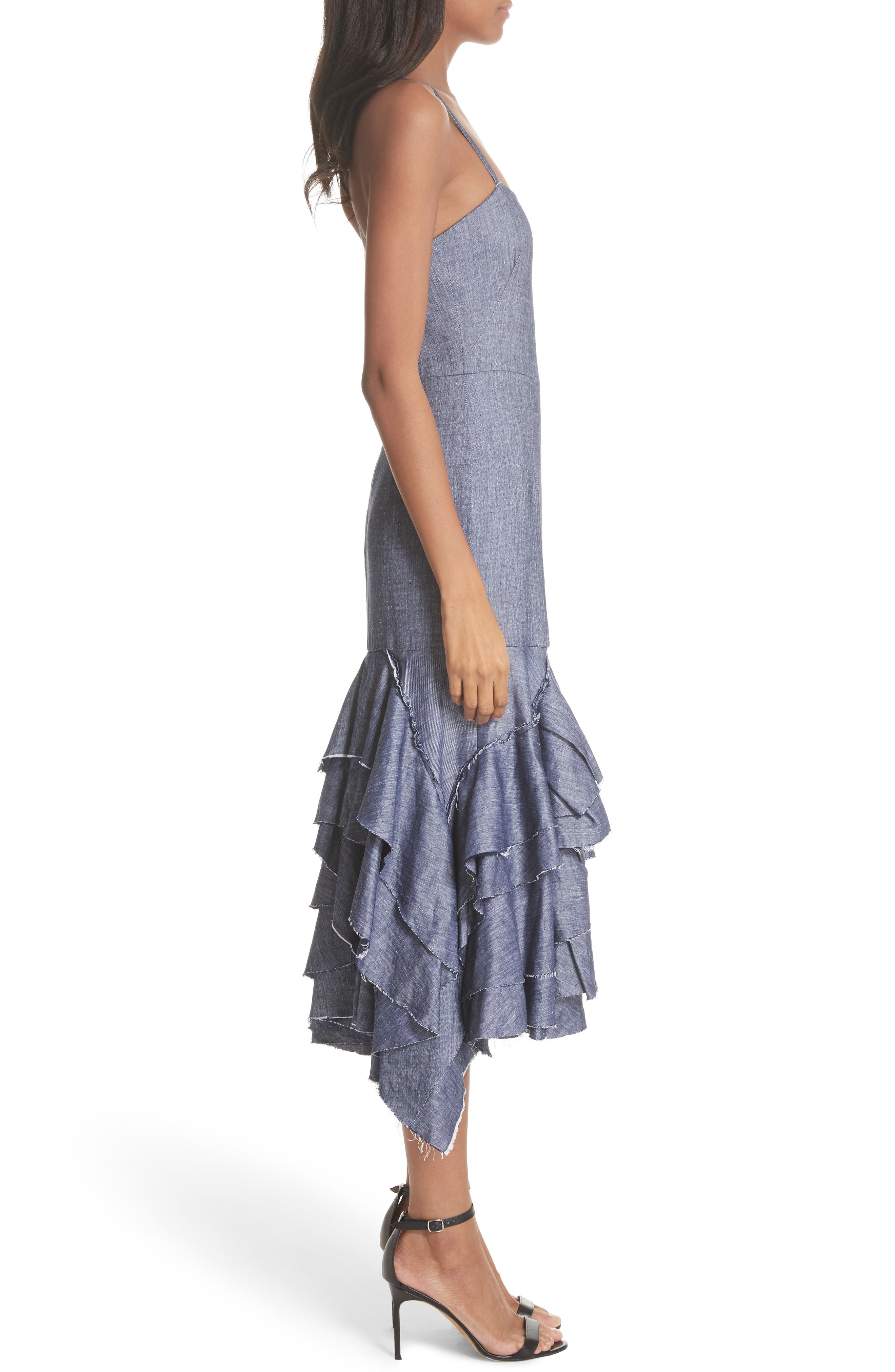 Apron Ruffle Midi Dress,                             Alternate thumbnail 3, color,                             Blue