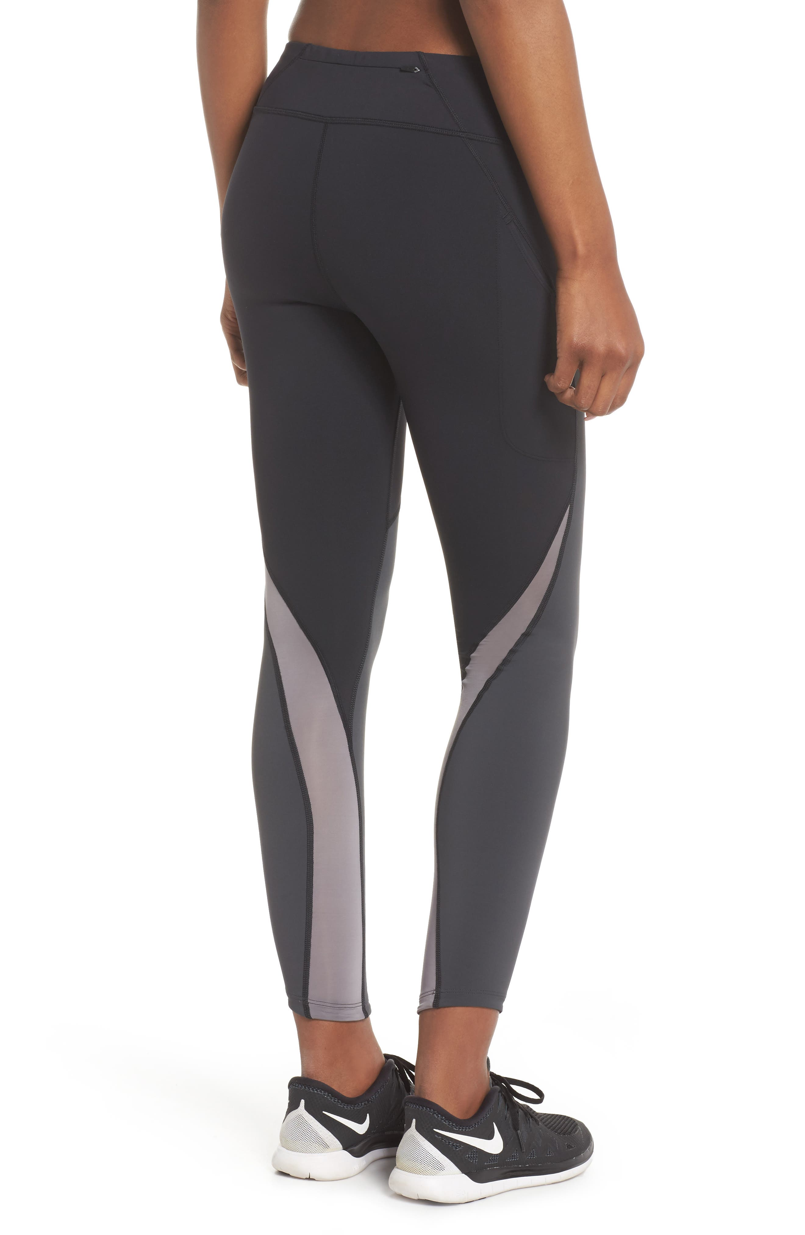 Power Epic Lux Colorblock Running Tights,                             Alternate thumbnail 2, color,                             Black/ Anthracite/ White