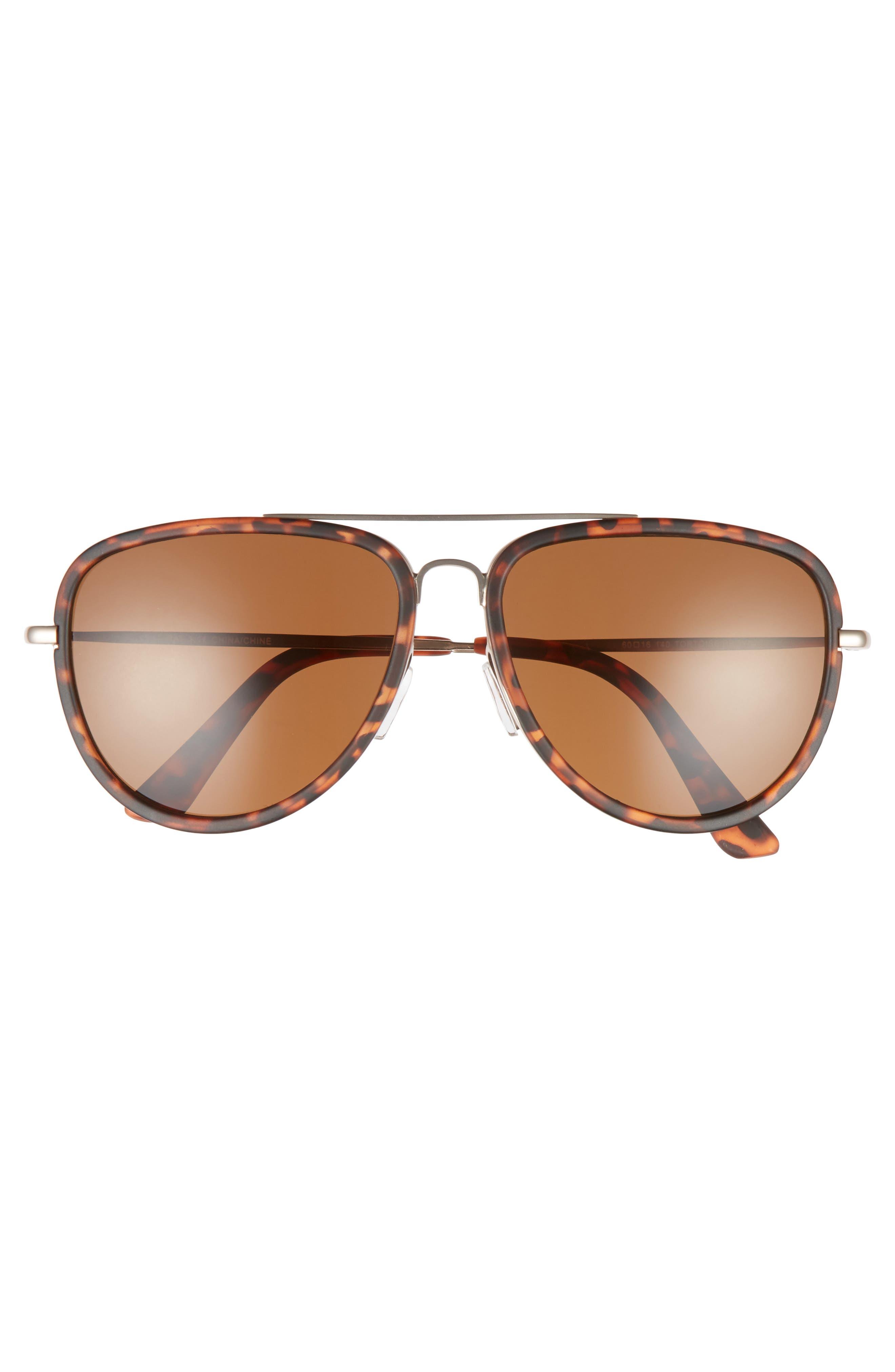 Pace 60mm Aviator Sunglasses,                             Alternate thumbnail 2, color,                             Tortoise/ Brown