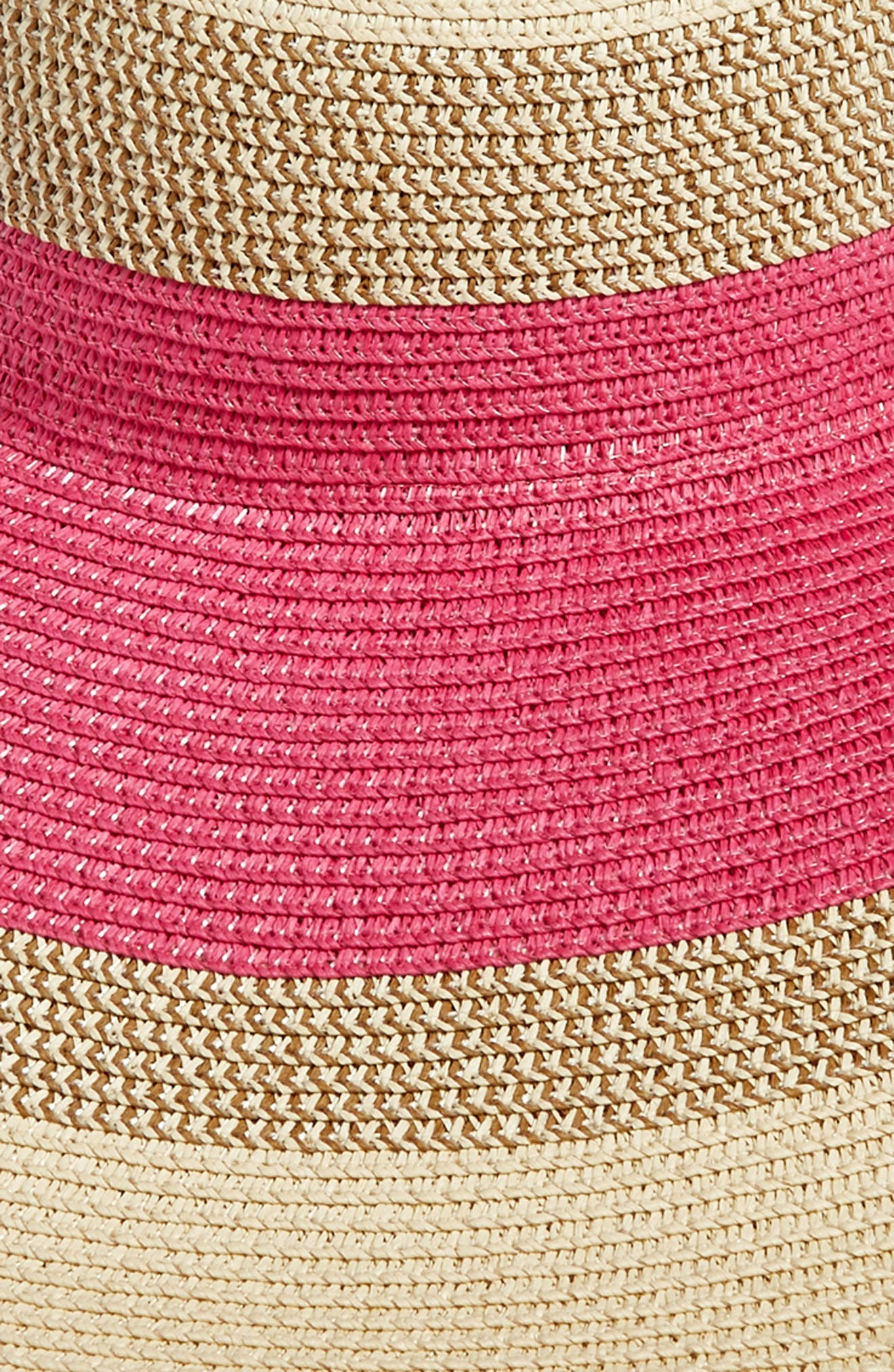 Statement Floppy Straw Hat,                             Alternate thumbnail 2, color,                             Pink Combo