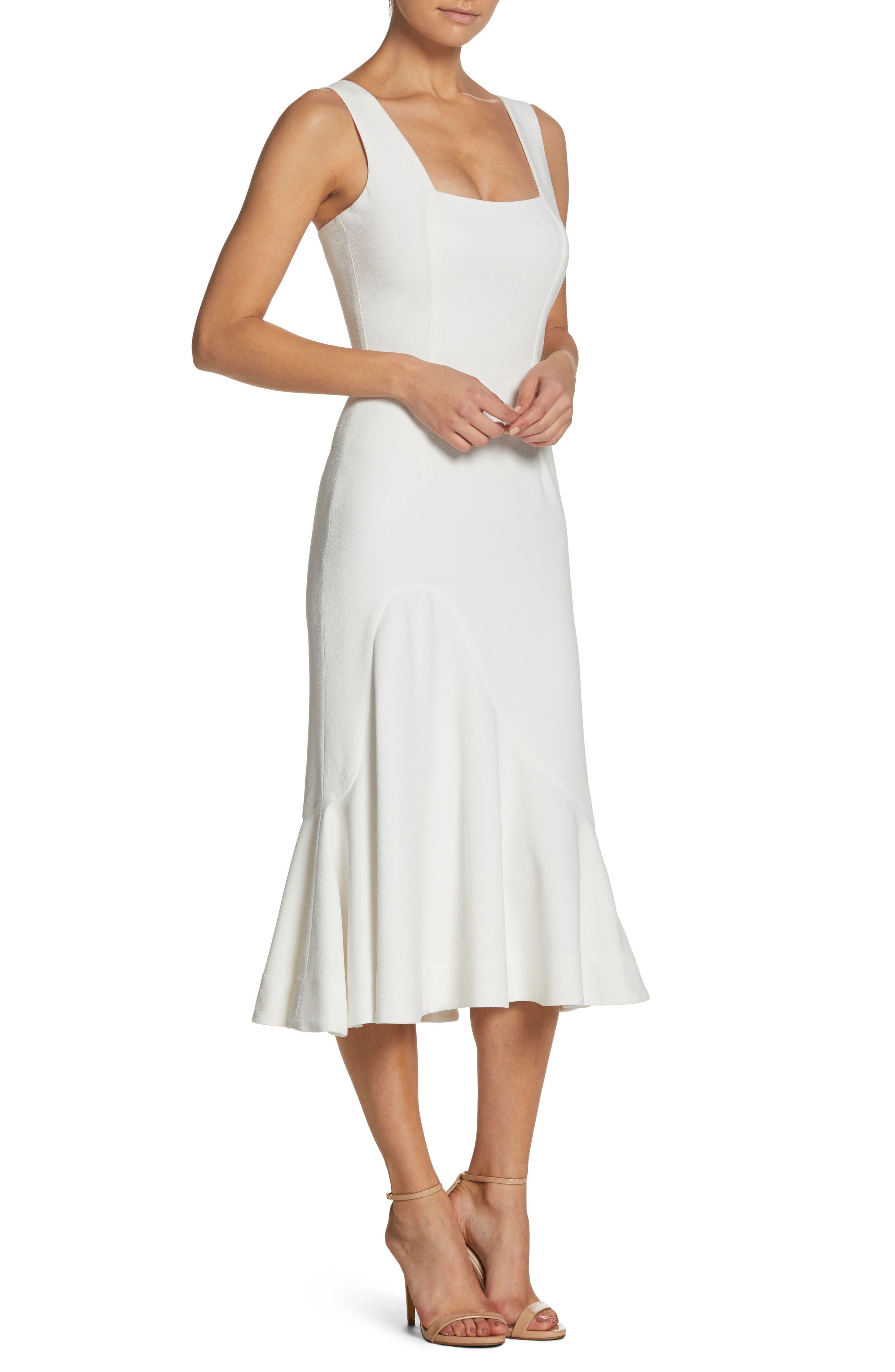 Monica Tea Length Trumpet Dress,                             Alternate thumbnail 3, color,                             Off White