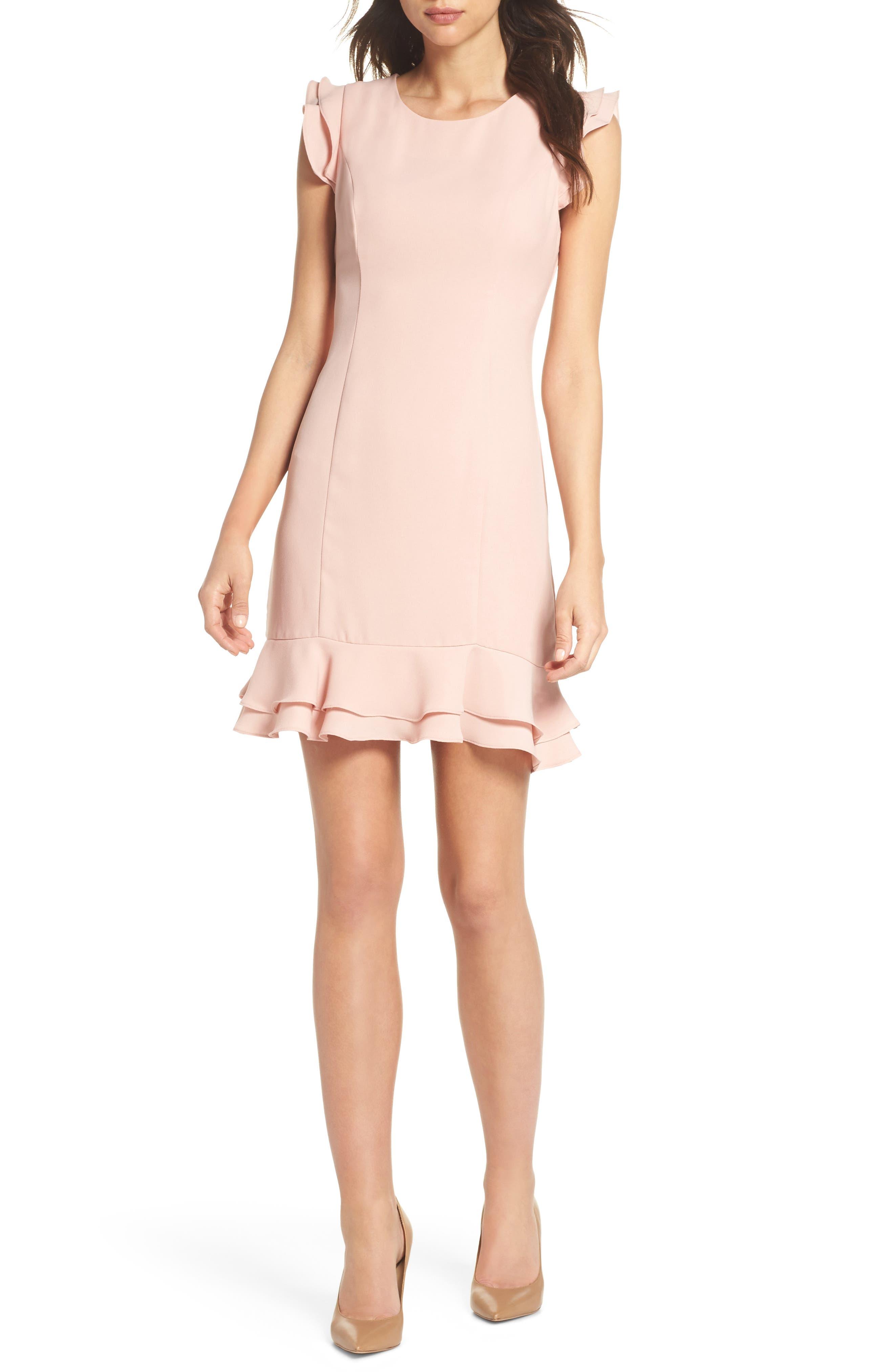 Ruffle Hem Sheath Dress,                         Main,                         color, Peach