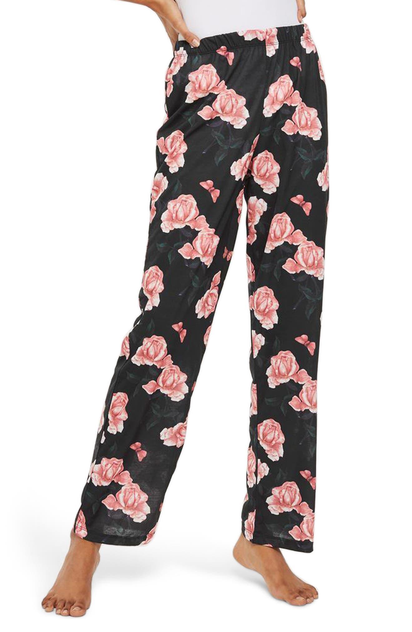 Rose Pajama Pants,                         Main,                         color, Black Multi