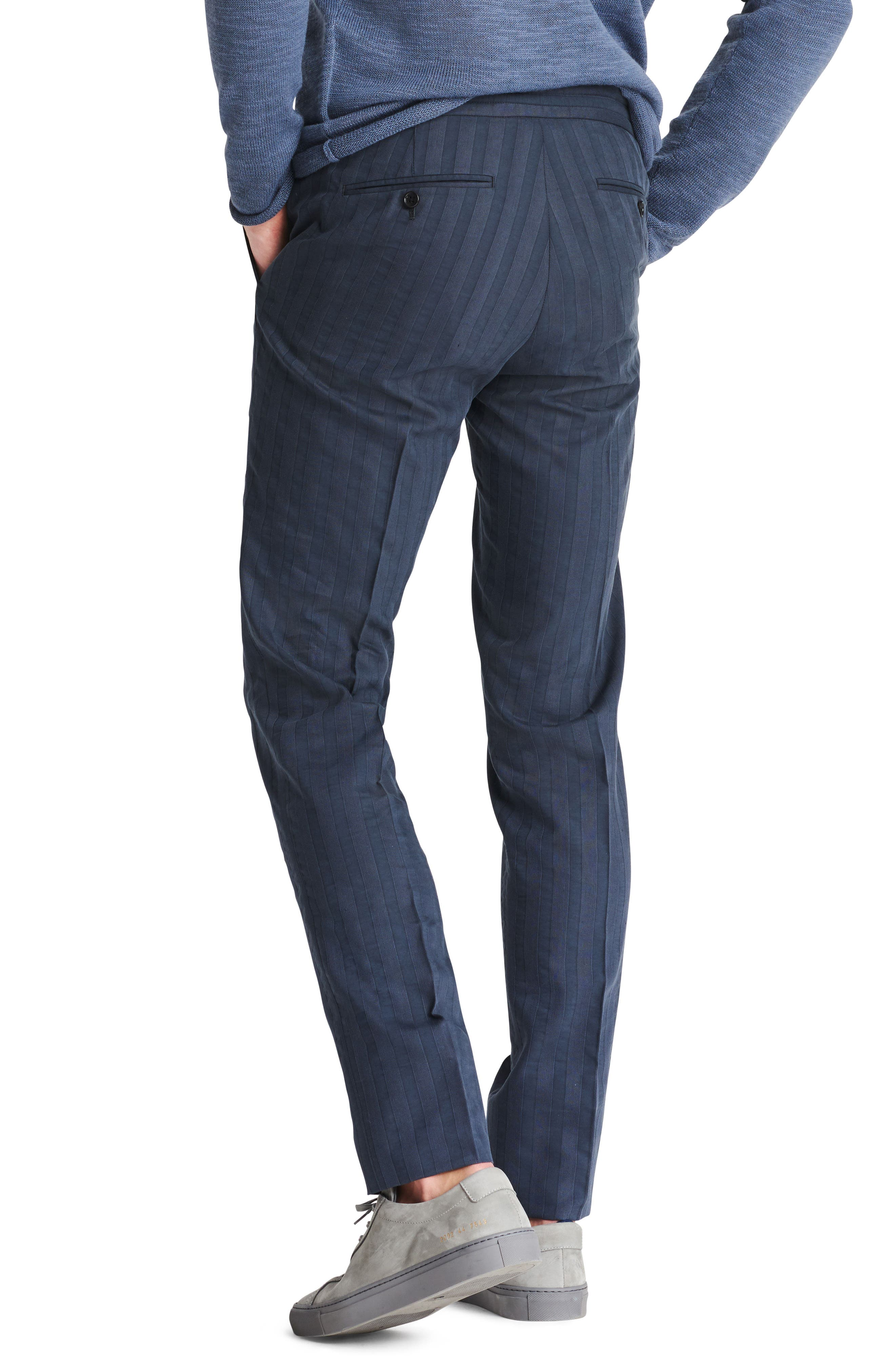 Flat Front Cotton & Linen Blend Trousers,                             Alternate thumbnail 2, color,                             Stripe Shirtmake
